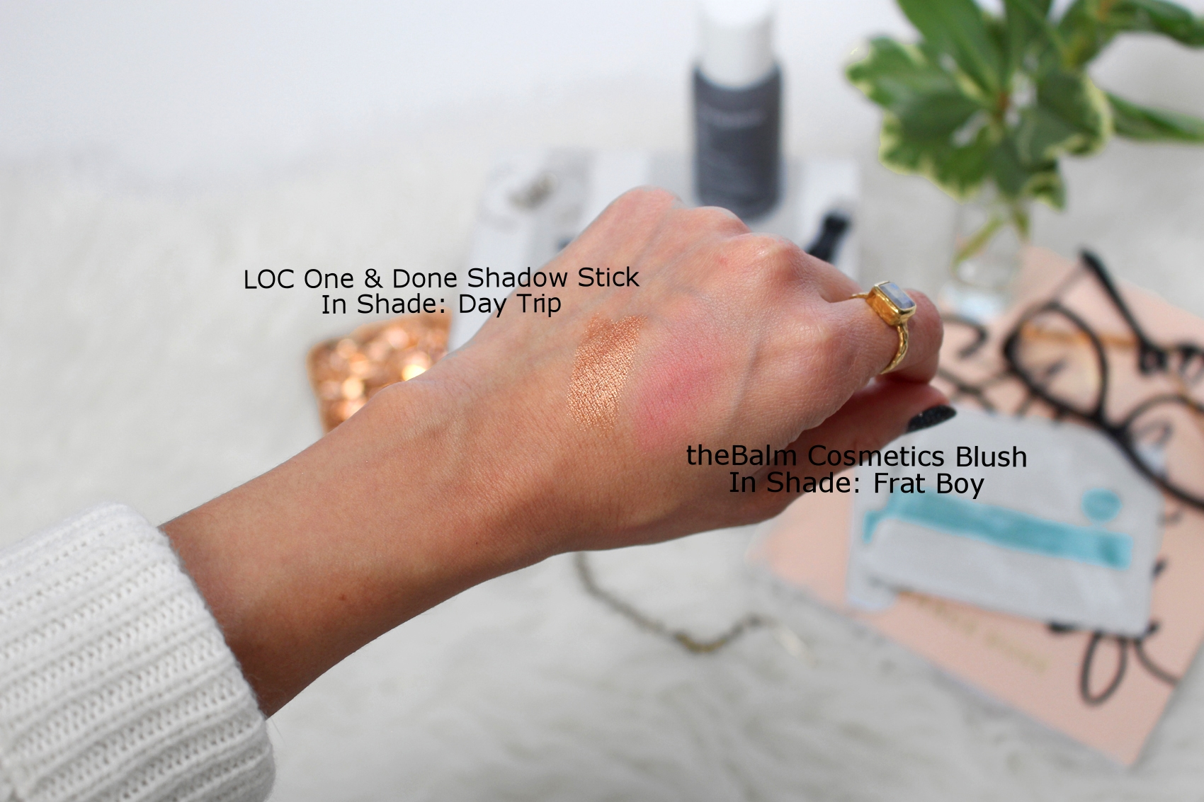 Swatch samples on Nathalie's light-medium olive skin. As you can see theBalm's Frat Boy blush shows up well on her skintone.