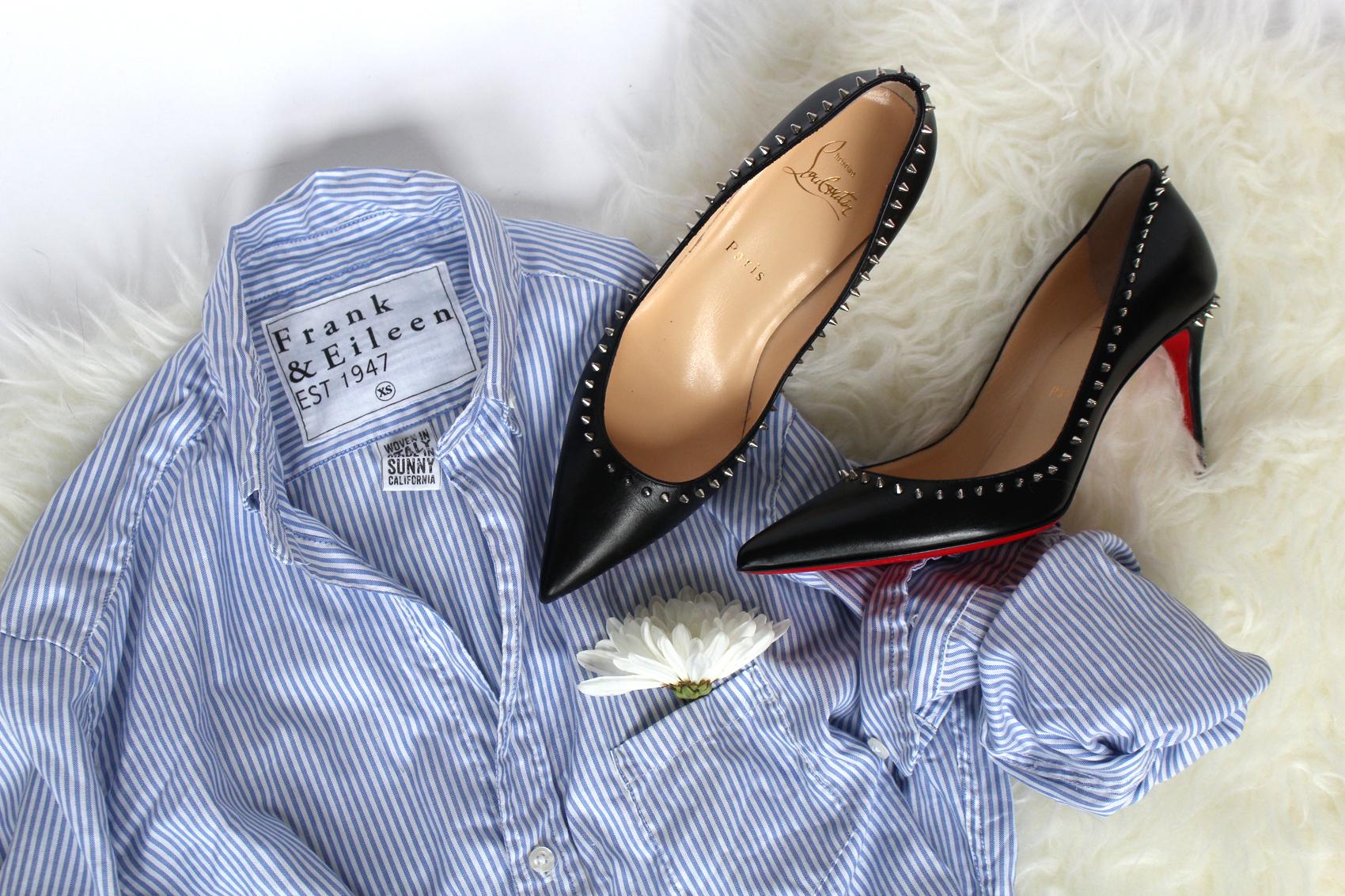 Frank & Eileen  Mary shirt dress.  Christian Louboutin  Anjalina heels.