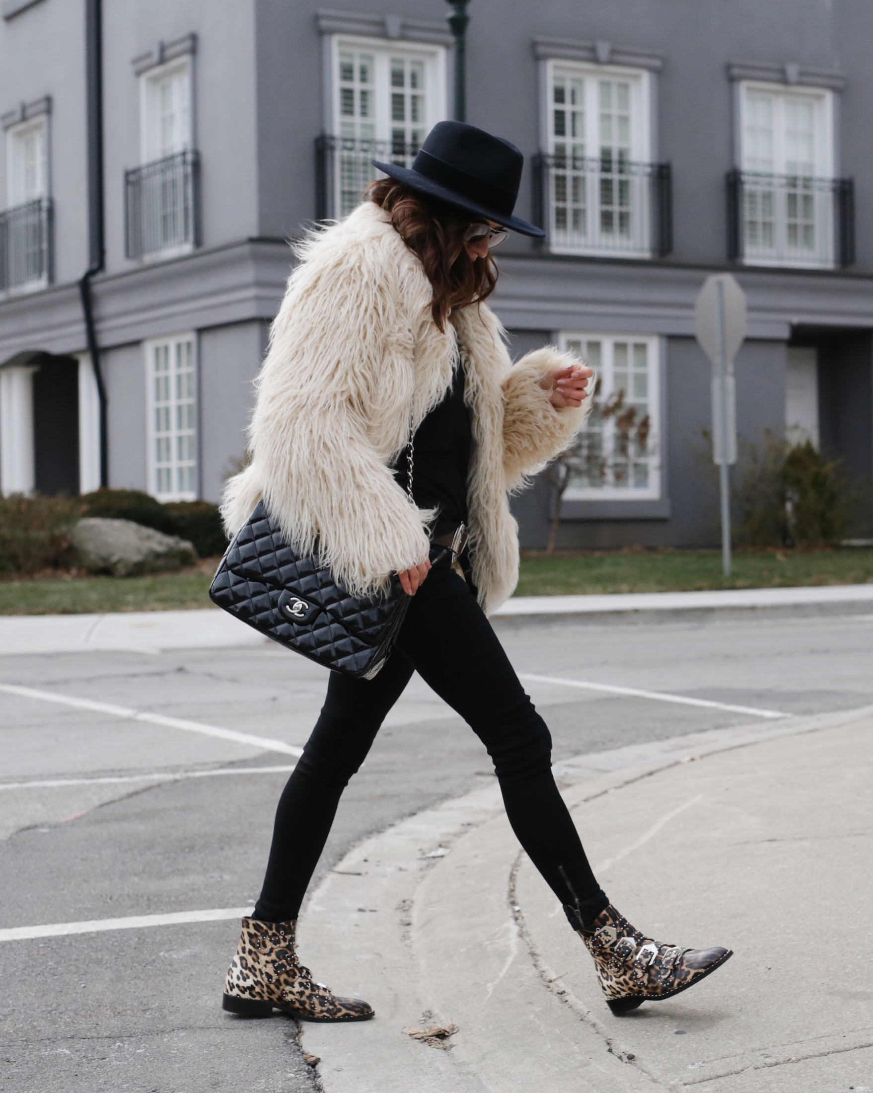 givenchy studded leopard boots, faux fur jacket and patent leather chanel bag - woahstyle.com_5625.JPG