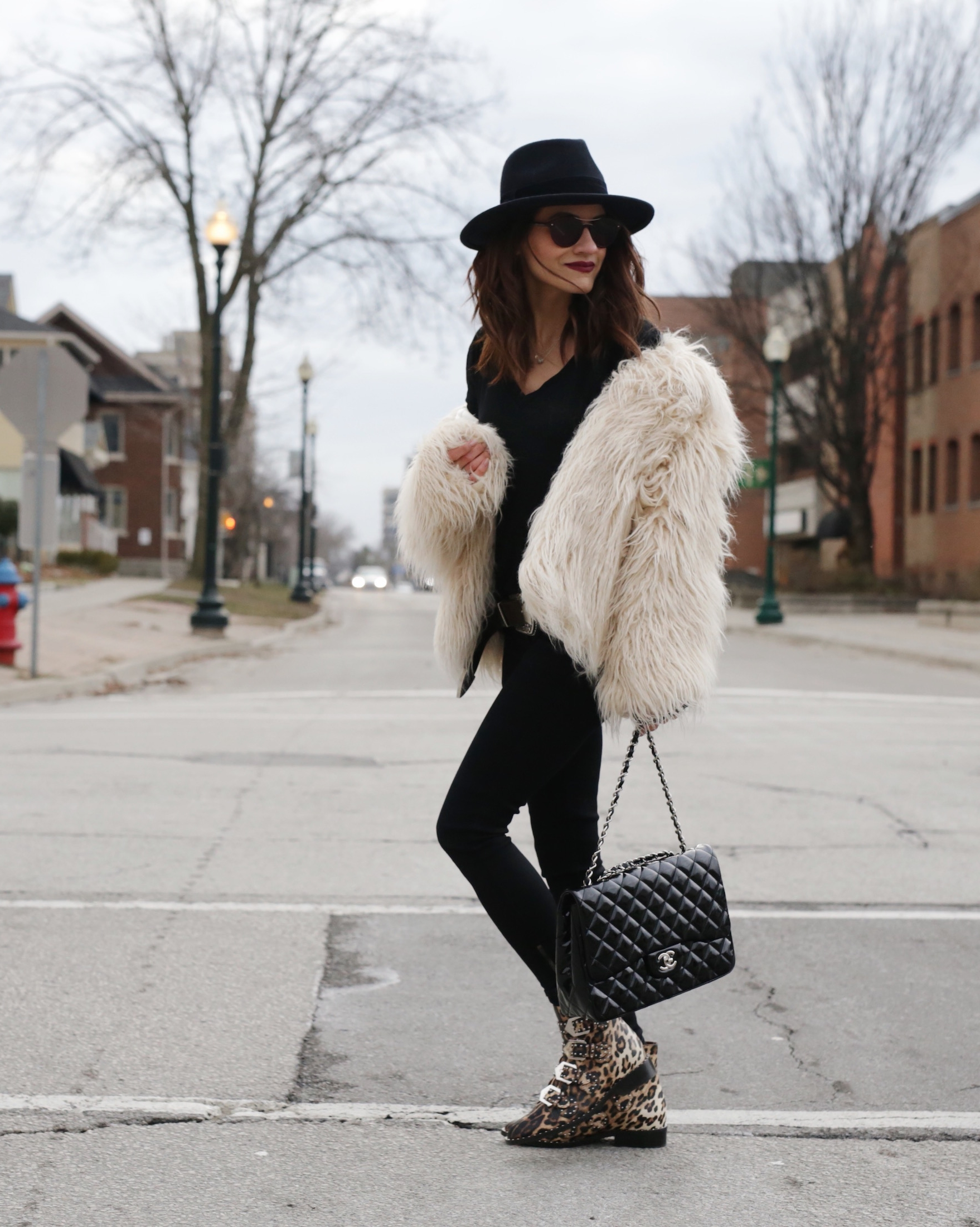 givenchy studded leopard boots, faux fur jacket and patent leather chanel bag - woahstyle.com_5627.JPG