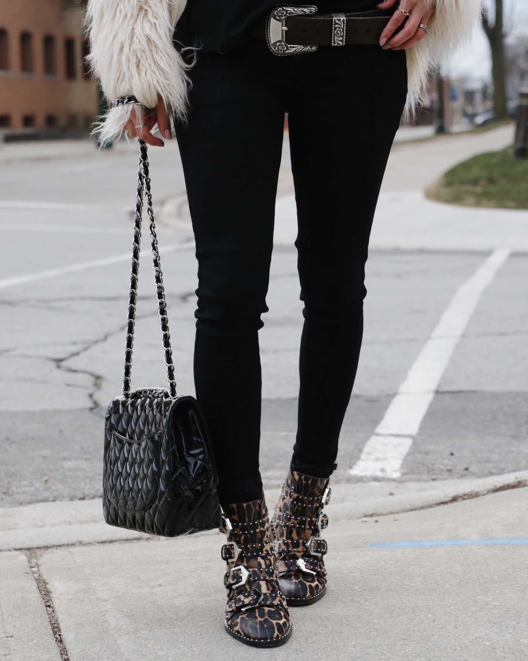 givenchy studded leopard boots, faux fur jacket and patent leather chanel bag - woahstyle.com_5618.JPG