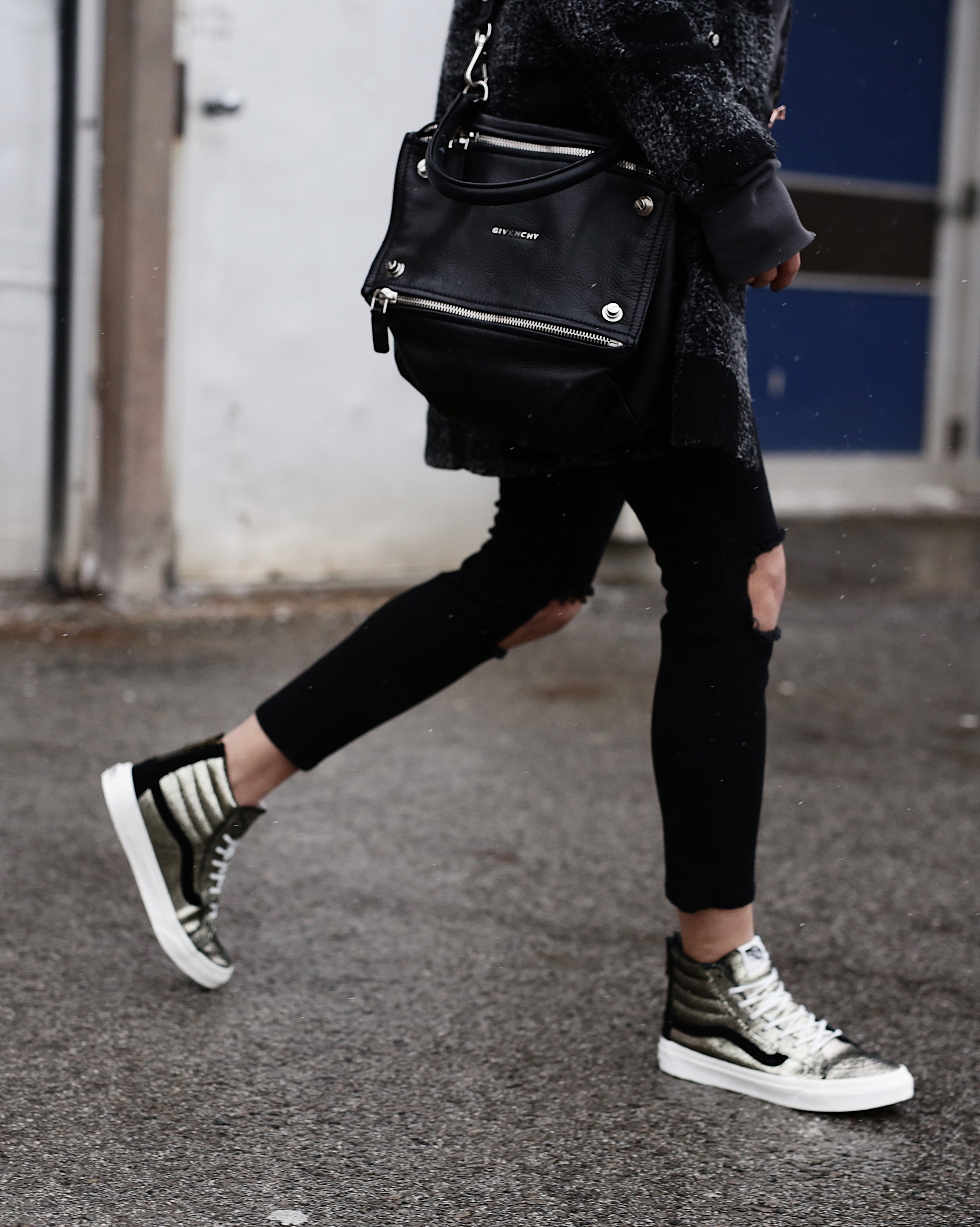 Givenchy Pandora bag, gold Vans SK8-HI sneakers, hoodie, casual street style -10 Statement Sneakers To Buy Now, glitter, metallic, neon, white canvas_7330.JPG