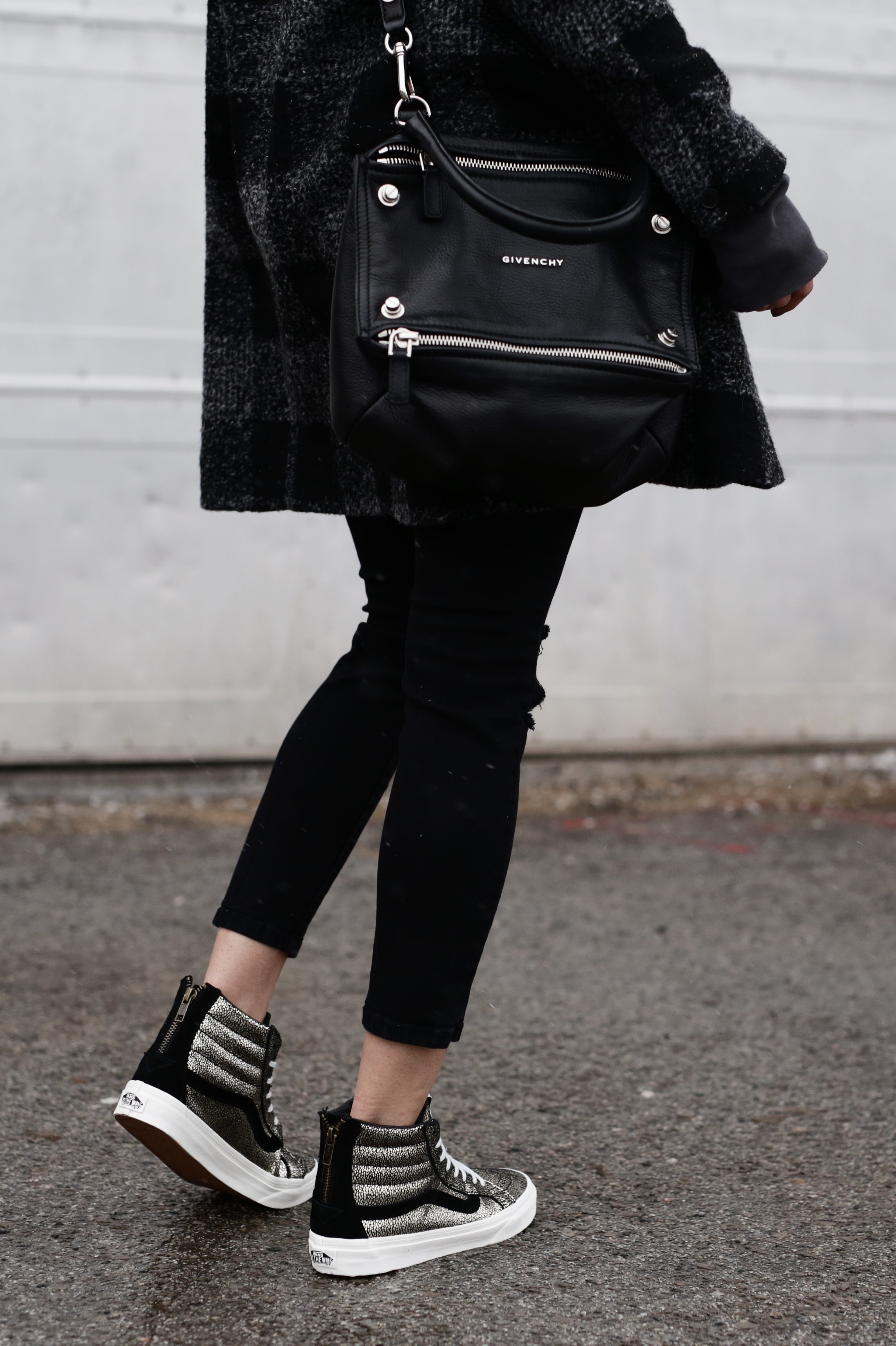 Givenchy Pandora bag, gold Vans SK8-HI sneakers, hoodie, casual street style -10 Statement Sneakers To Buy Now, glitter, metallic, neon, white canvas_7335.JPG