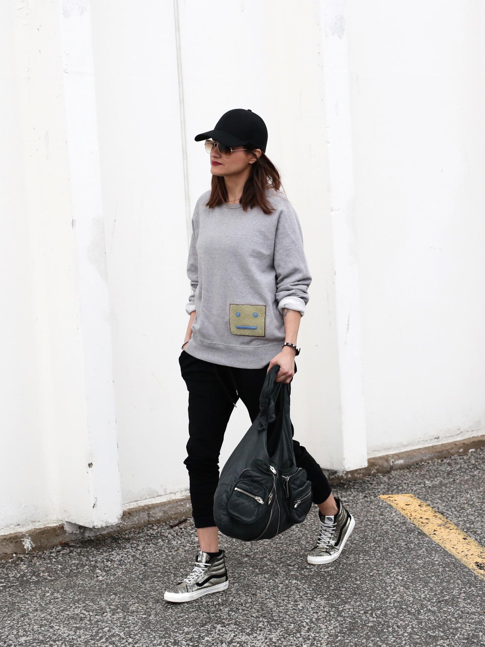 3 Ways To Rock Athleisure Wear - Leather Jacket, Acne Sweater, Alexander Wang Donna bag, metallic Vans sneakers_7641.JPG