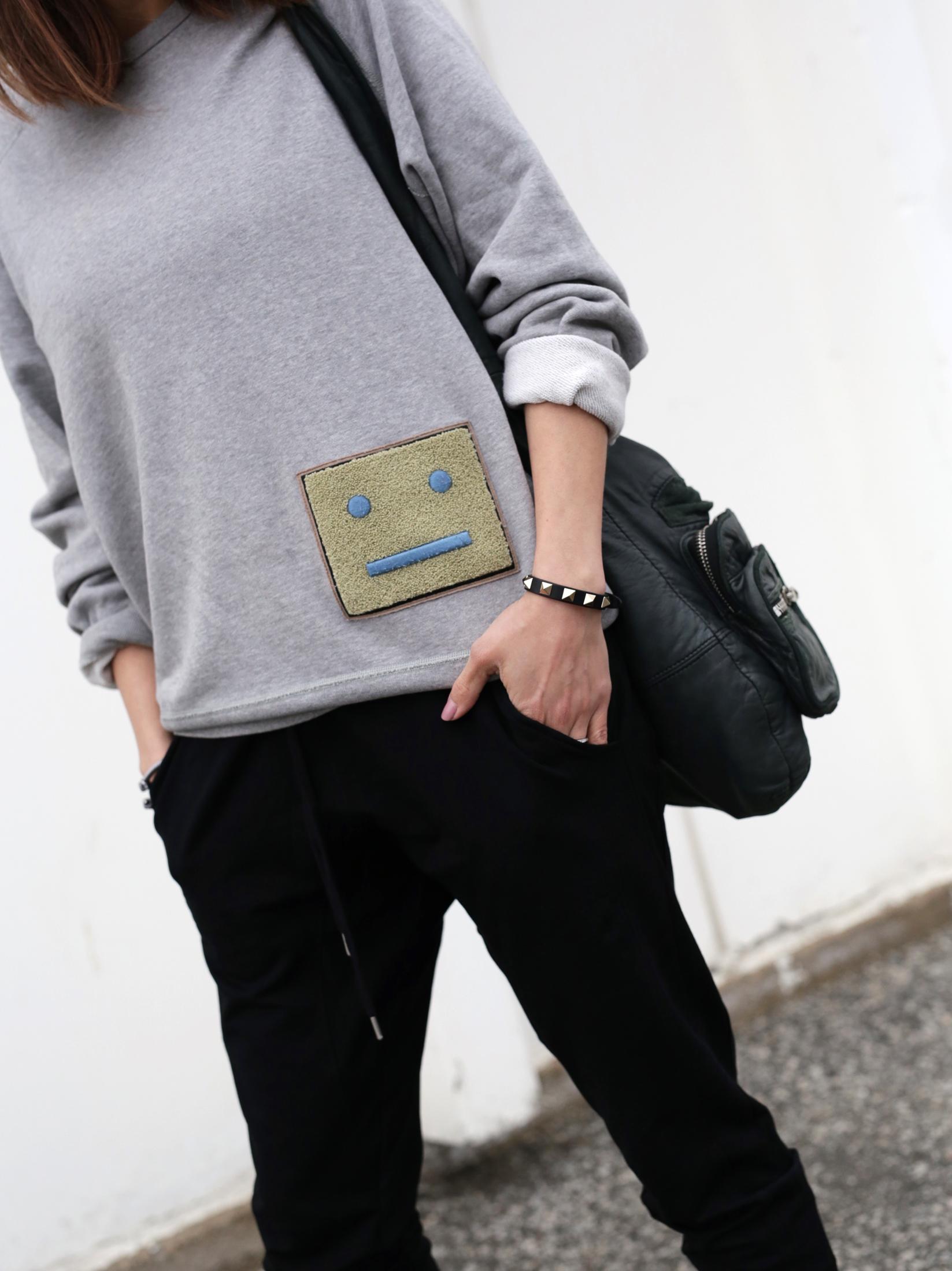 3 Ways To Rock Athleisure Wear - Leather Jacket, Acne Sweater, Alexander Wang Donna bag, metallic Vans sneakers_7642.JPG