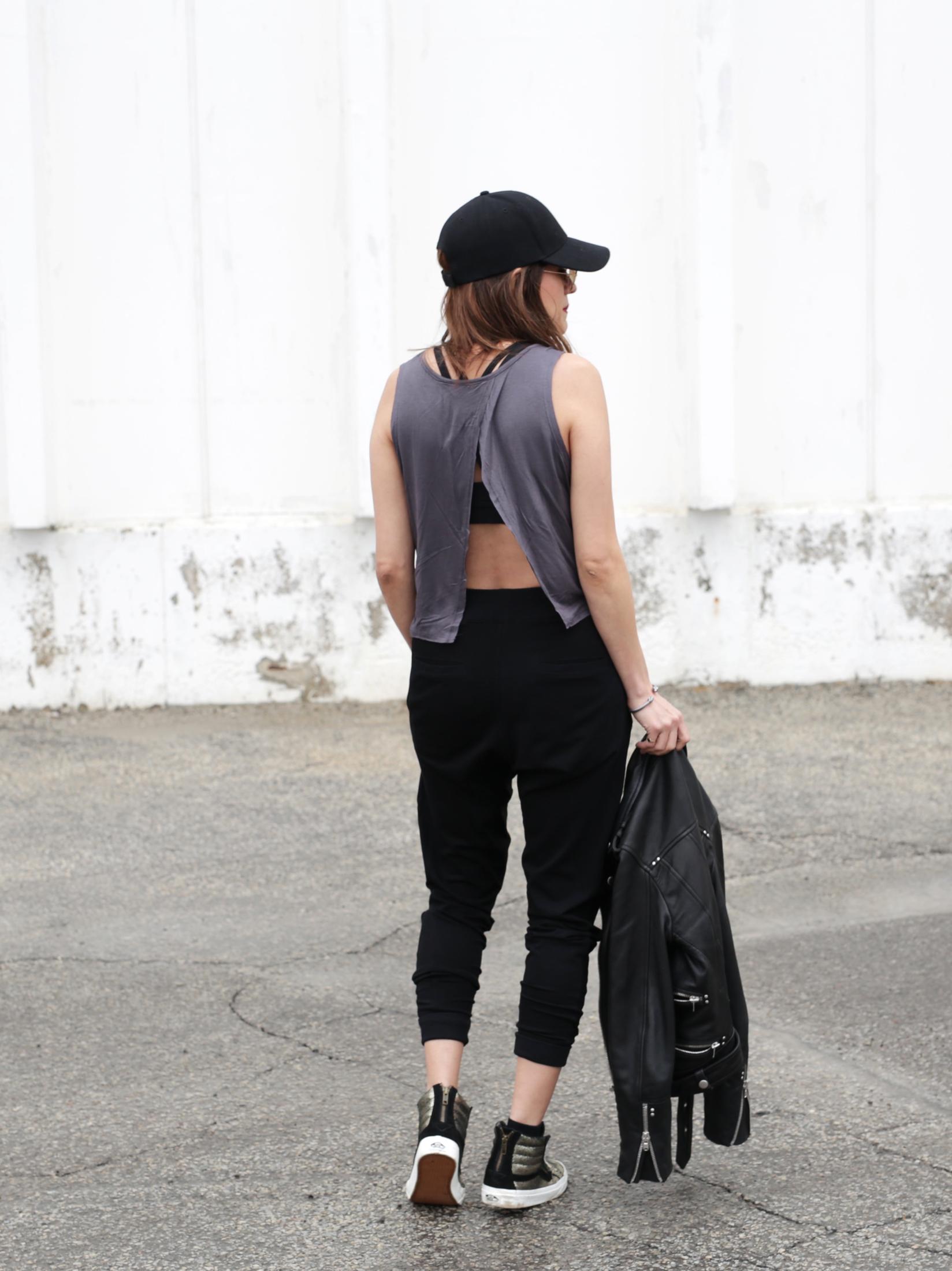 3 Ways To Rock Athleisure Wear - Leather Jacket, Acne Sweater, Alexander Wang Donna bag, metallic Vans sneakers_7634.JPG