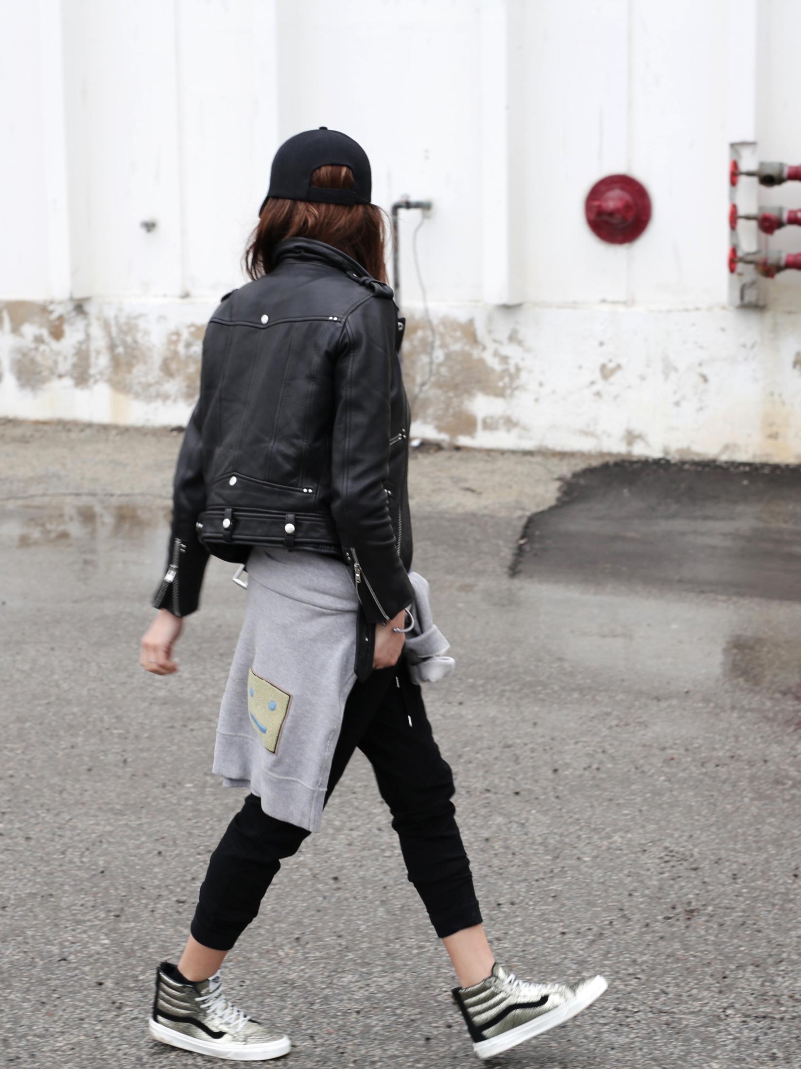 3 Ways To Rock Athleisure Wear - Leather Jacket, Acne Sweater, Alexander Wang Donna bag, metallic Vans sneakers_7637.JPG