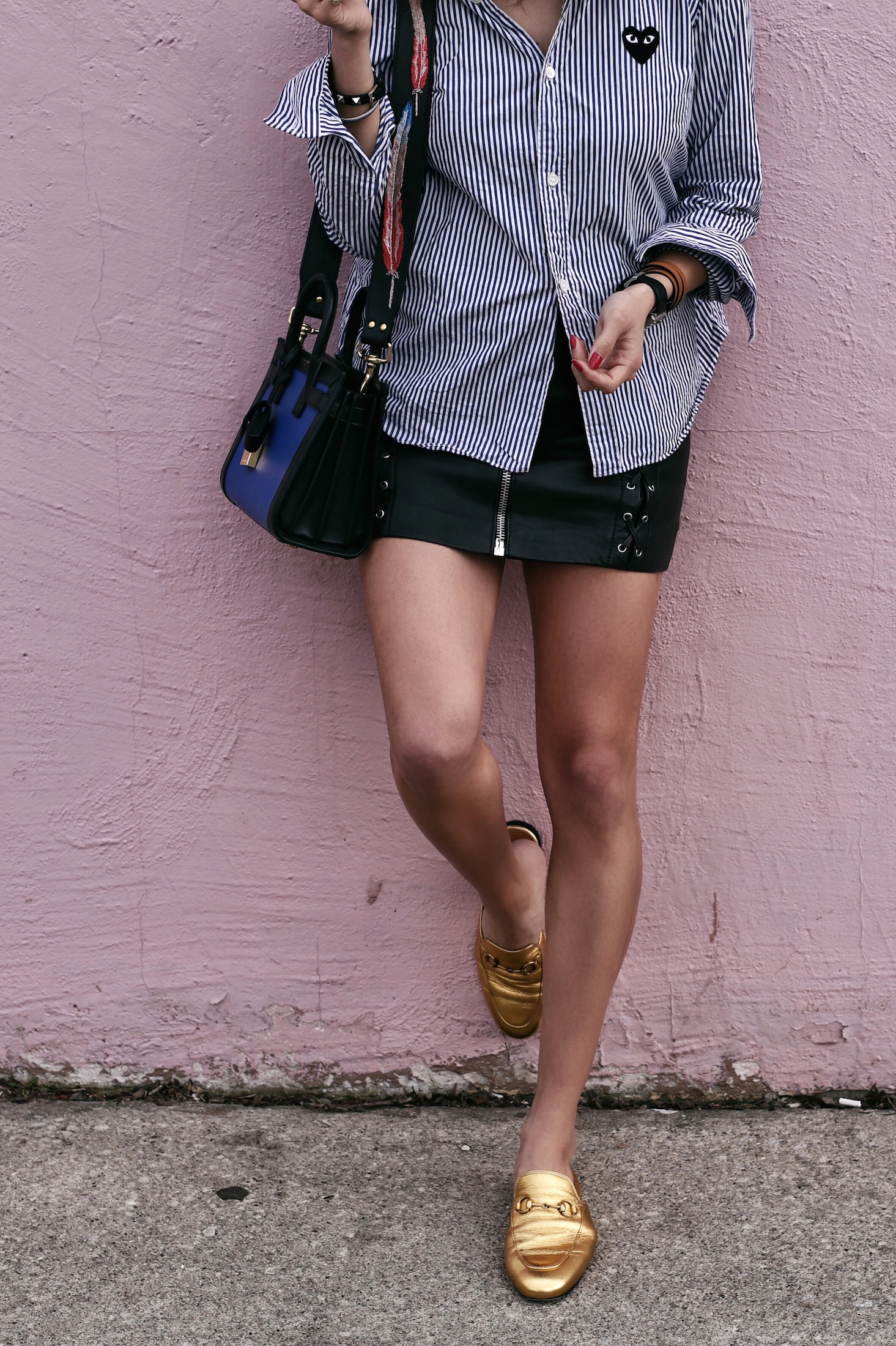 comme des garcons striped shirt - blue saint laurent nano sac de jour bag - kate cate handbag strap - the kooples leather zip skirt - summer style - top bun hair style - woahstyle_8074.JPG