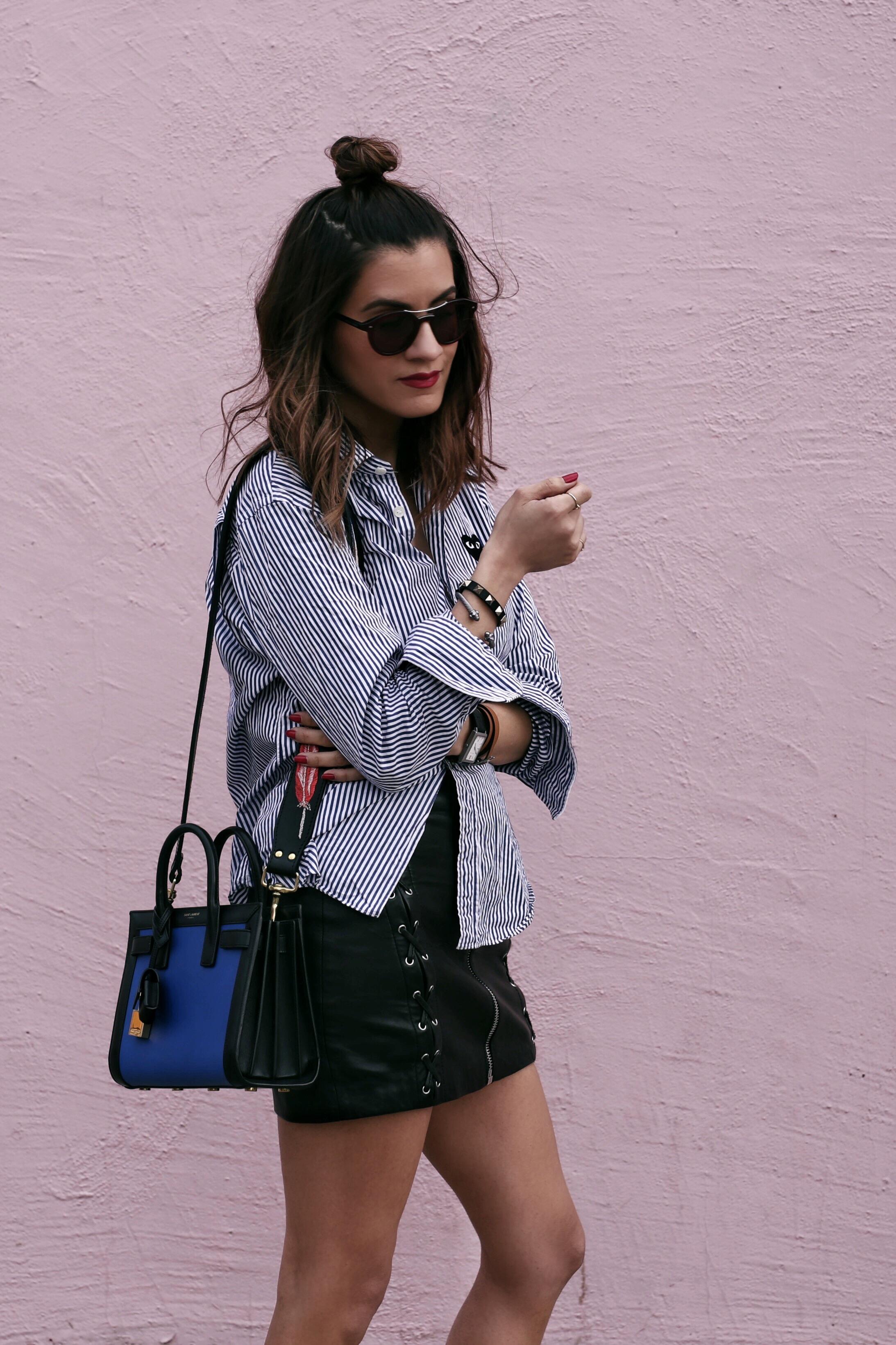 comme des garcons striped shirt - blue saint laurent nano sac de jour bag - kate cate handbag strap - the kooples leather zip skirt - summer style - top bun hair style - woahstyle_8071.JPG