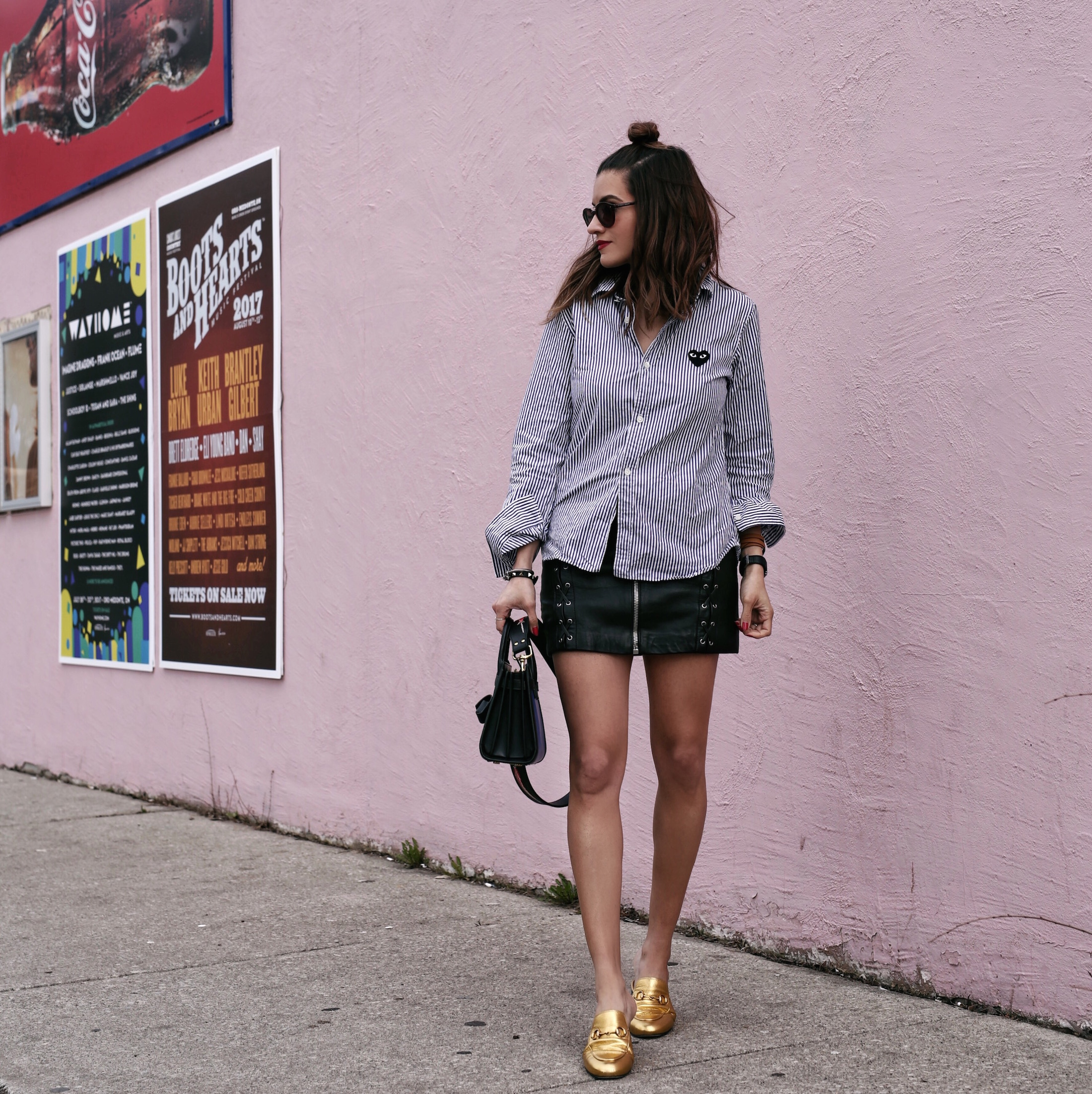 comme des garcons striped shirt - blue saint laurent nano sac de jour bag - kate cate handbag strap - the kooples leather zip skirt - summer style - top bun hair style - woahstyle_8080.JPG
