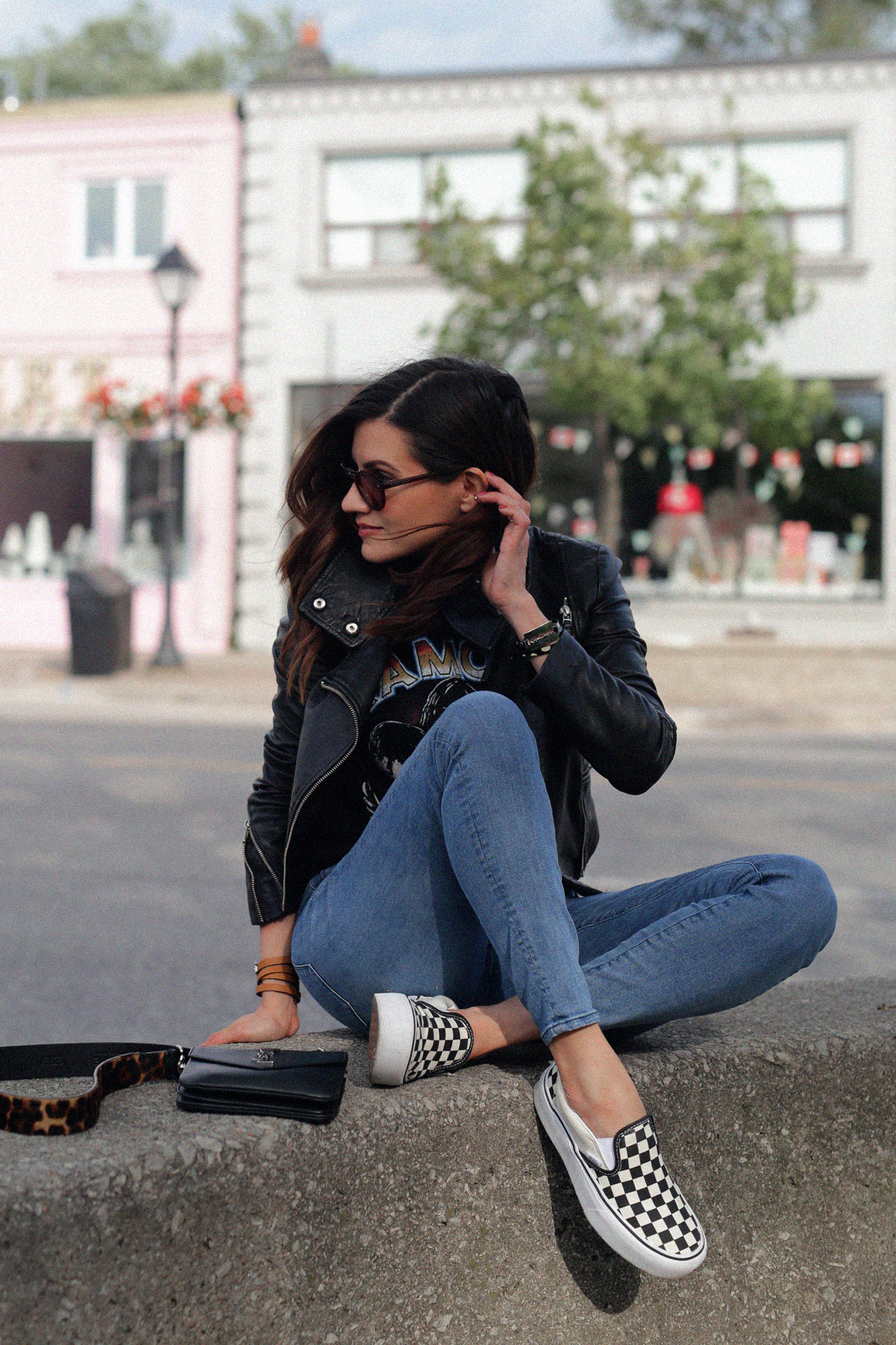 saint laurent black monogram crossbody bag, vans checkerboard platform slip ons, 3x1 skinny jeans, lether jacket_1161.JPG