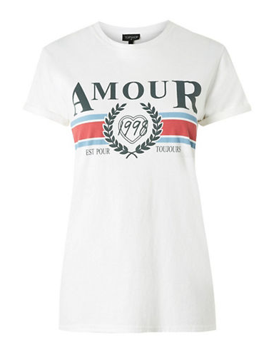 3. AMOUR - Something about this shirt reminds me of the retro Gucci tee we saw from last season. Bonus, this one is only $25.