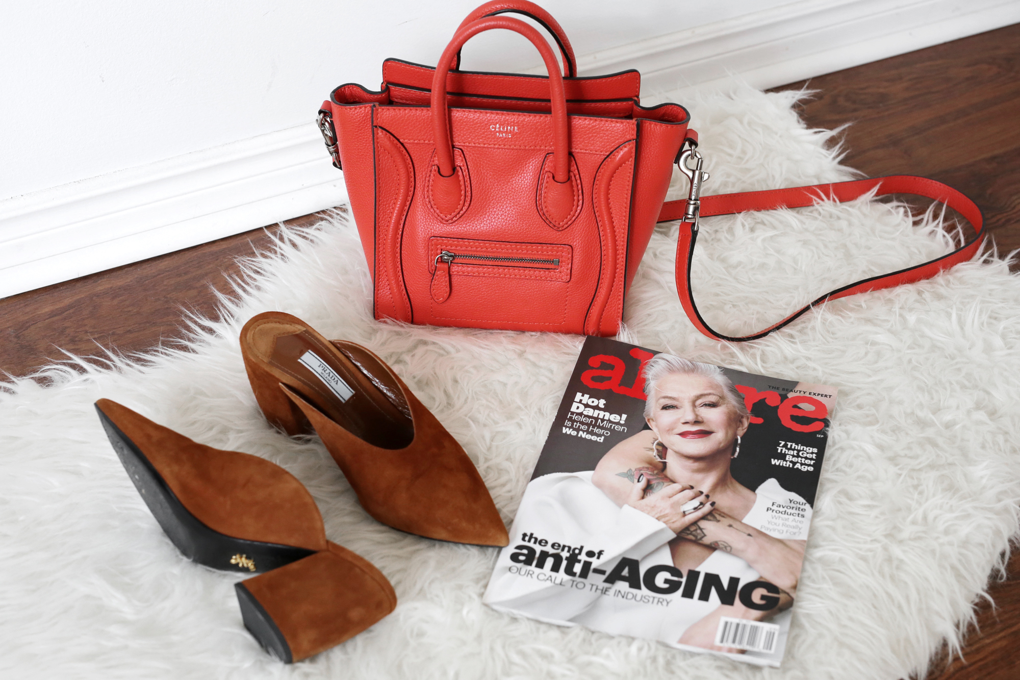 Fall 2017 Accessories - Celine Vermillion nano luggage bag and tobacco colored Prada mules _9128.jpg
