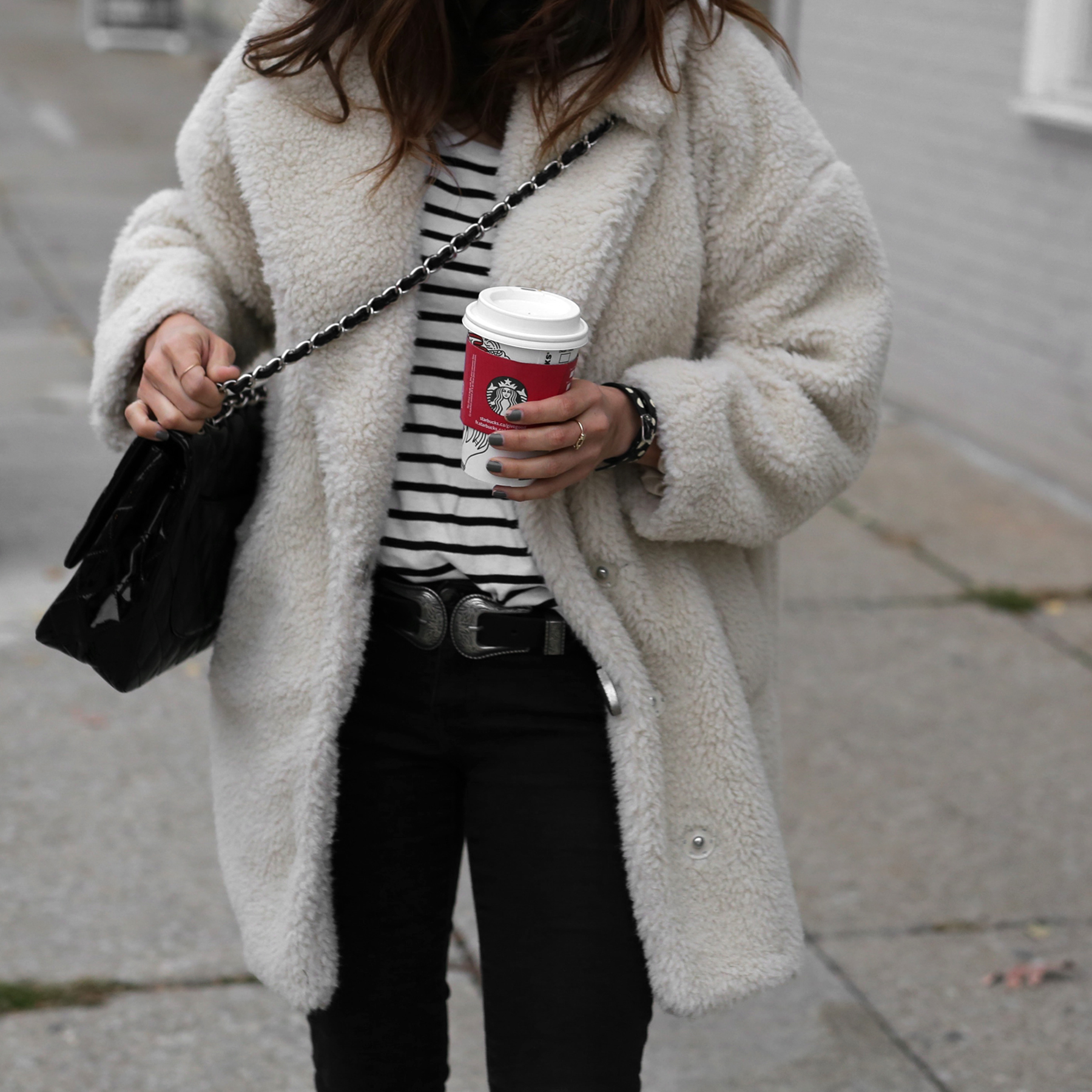 Fuzzy Topshop coat, striped top, black skinny jeans and patent leather Chanel jumbo bag street style - rocker chic - parisian style - french style_2848.jpg