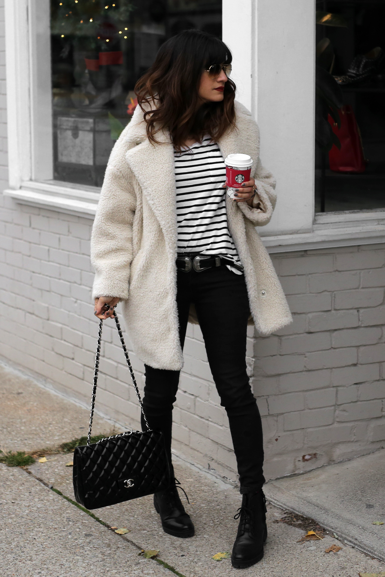 Fuzzy Topshop coat, striped top, black skinny jeans and patent leather Chanel jumbo bag street style - rocker chic - parisian style - french style_2827.jpg