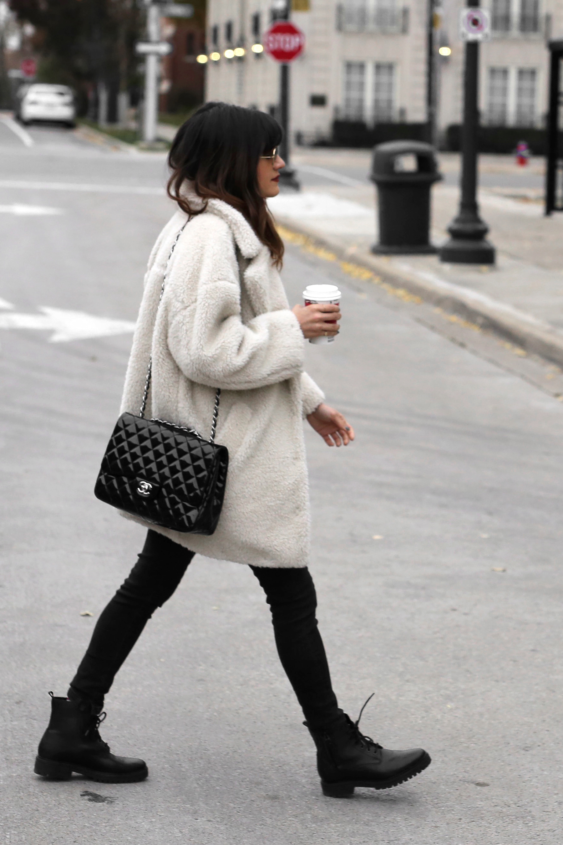 Fuzzy Topshop coat, striped top, black skinny jeans and patent leather Chanel jumbo bag street style - rocker chic - parisian style - french style_2801.jpg