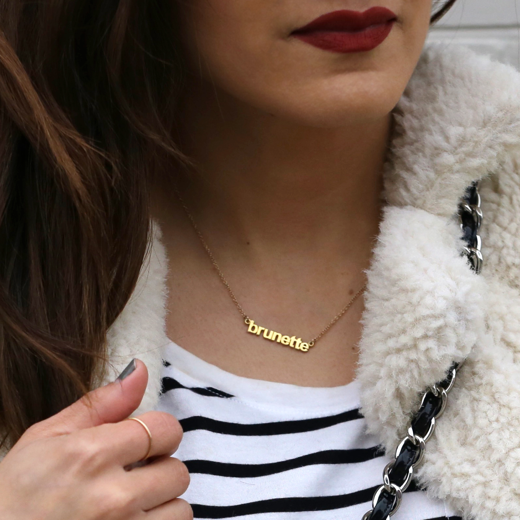 Fuzzy Topshop coat, striped top, black skinny jeans and patent leather Chanel jumbo bag street style - rocker chic - parisian style - french style_2972.jpg