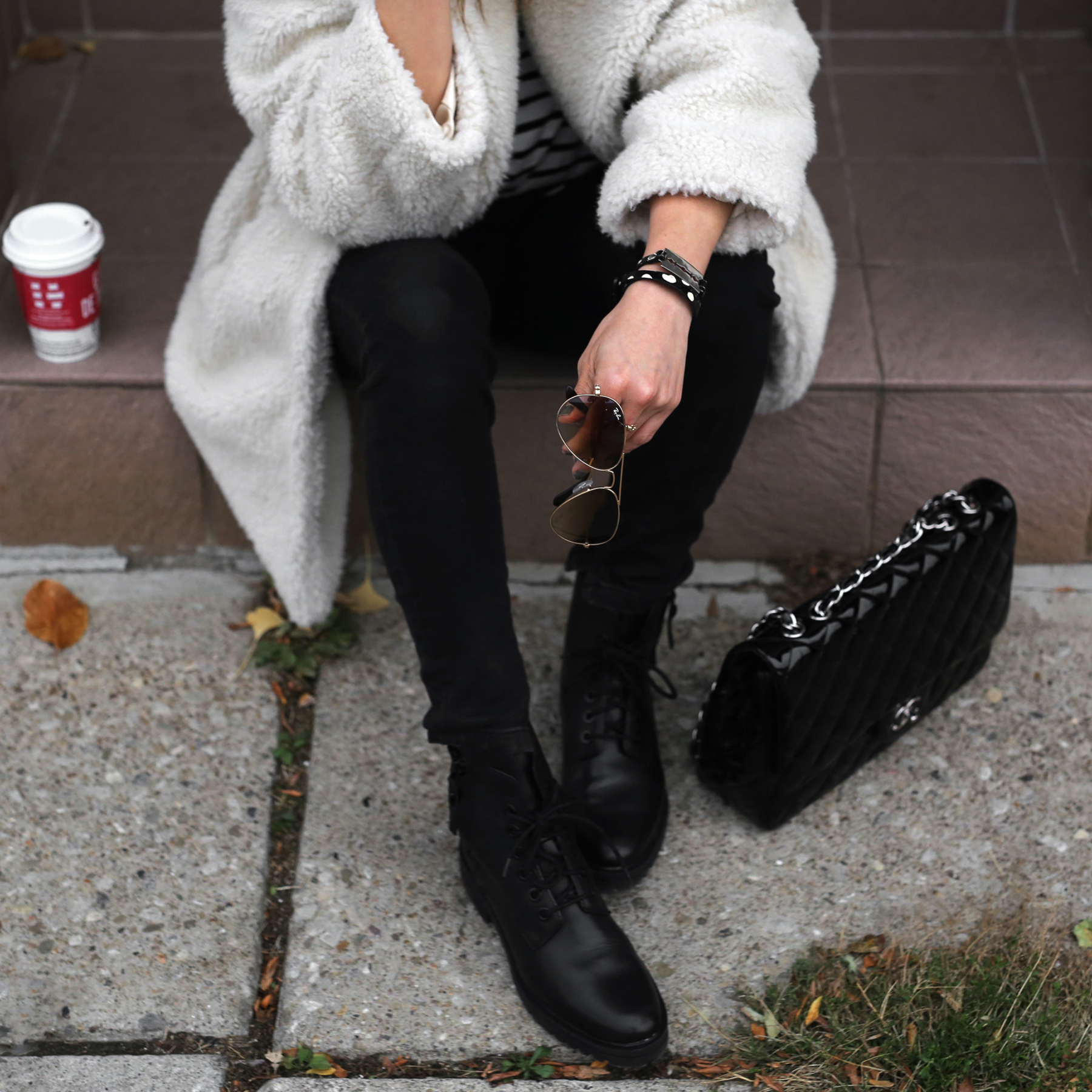 Fuzzy Topshop coat, striped top, black skinny jeans and patent leather Chanel jumbo bag street style - rocker chic - parisian style - french style_2900.jpg