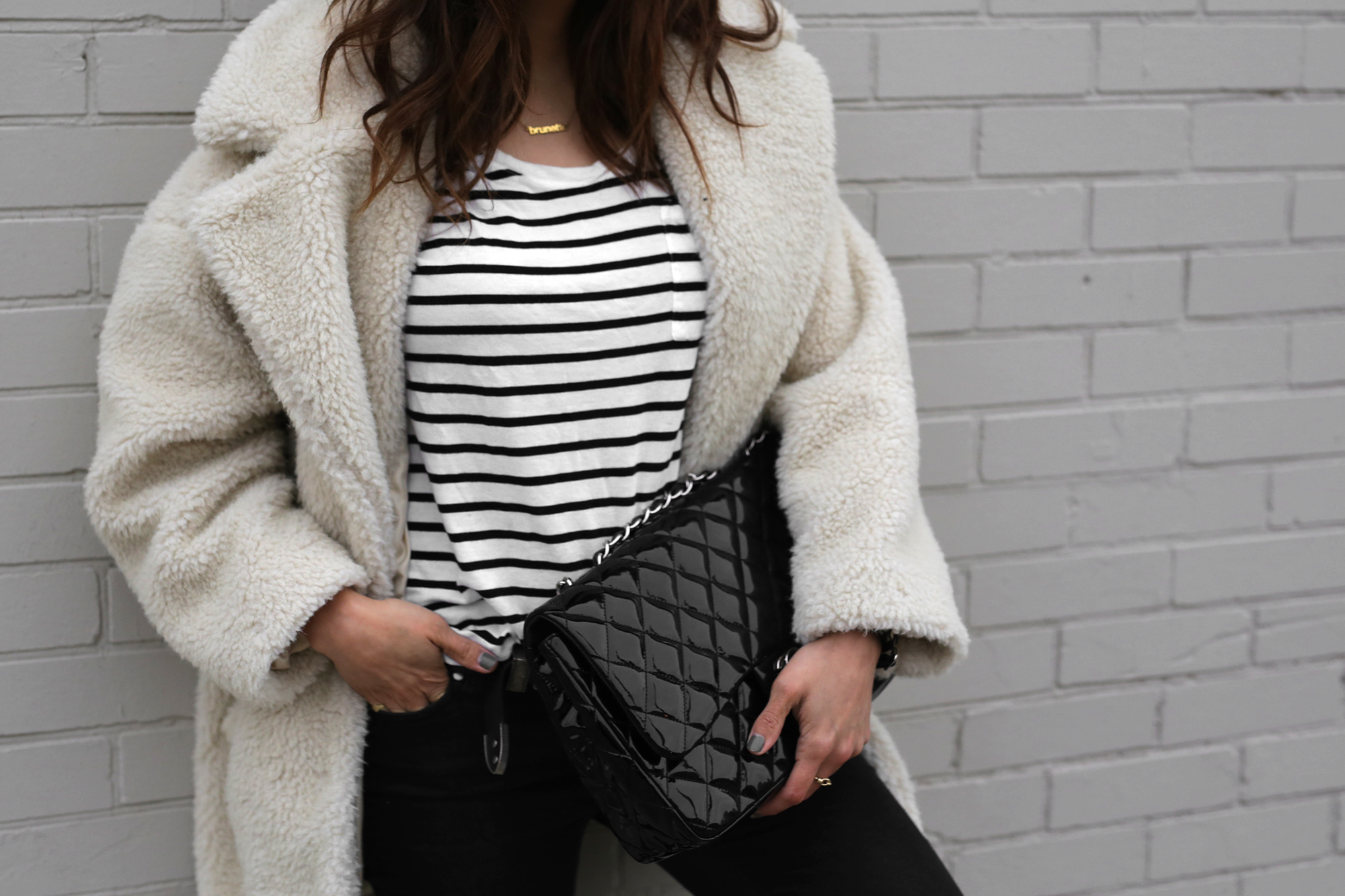 Fuzzy Topshop coat, striped top, black skinny jeans and patent leather Chanel jumbo bag street style - rocker chic - parisian style - french style_2941.jpg