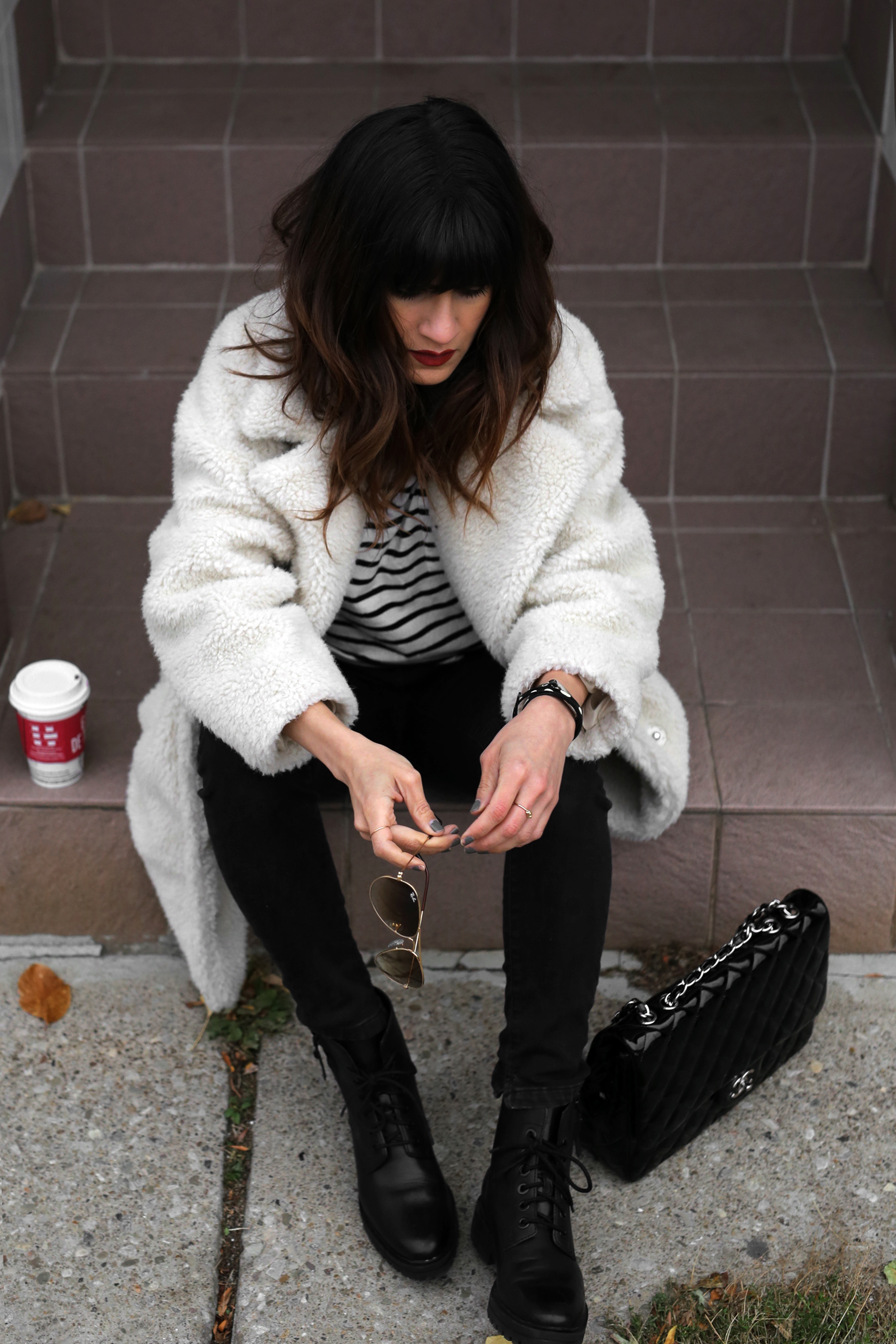 Fuzzy Topshop coat, striped top, black skinny jeans and patent leather Chanel jumbo bag street style - rocker chic - parisian style - french style_2889.jpg