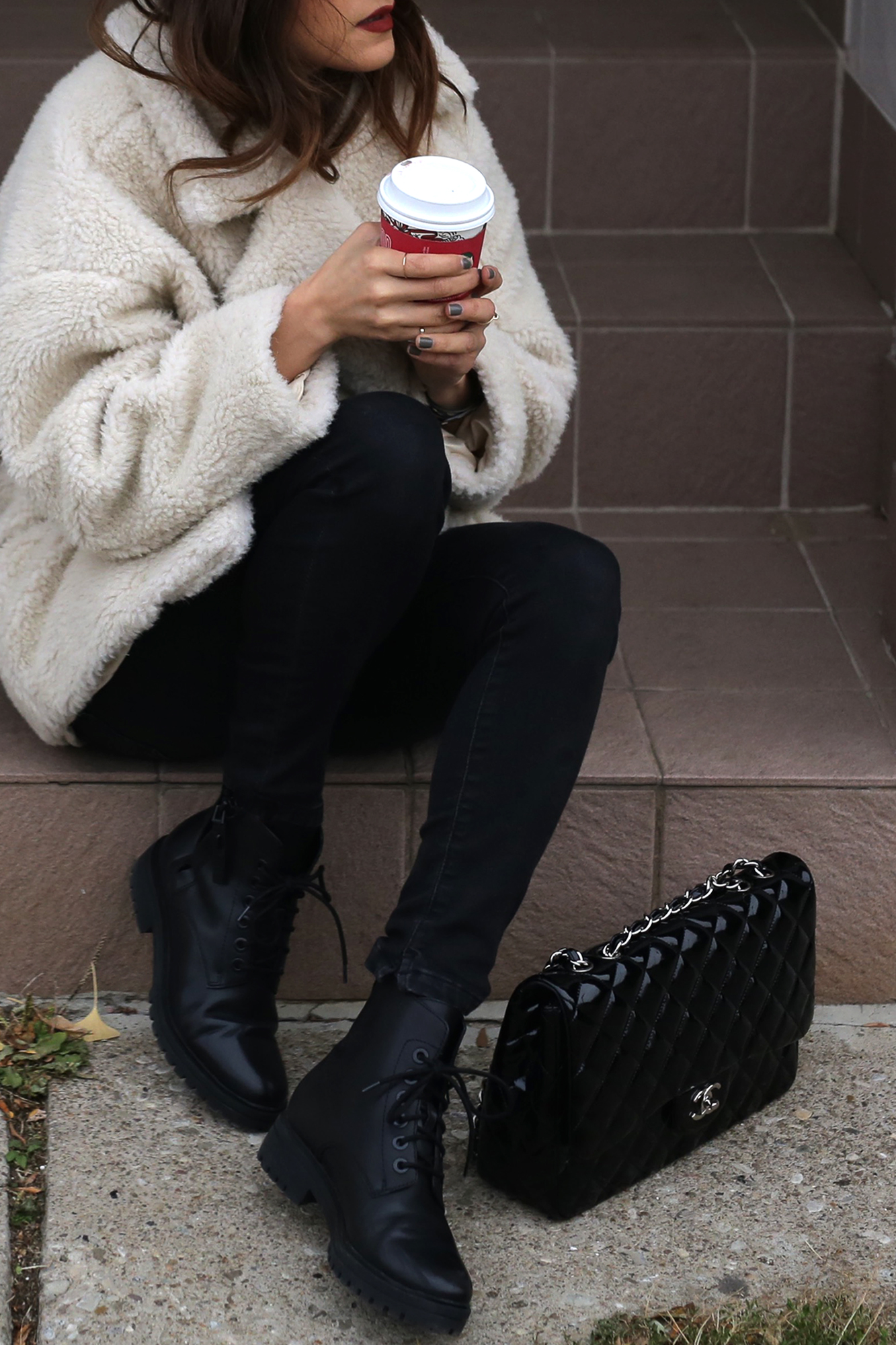 Fuzzy Topshop coat, striped top, black skinny jeans and patent leather Chanel jumbo bag street style - rocker chic - parisian style - french style_2903.jpg