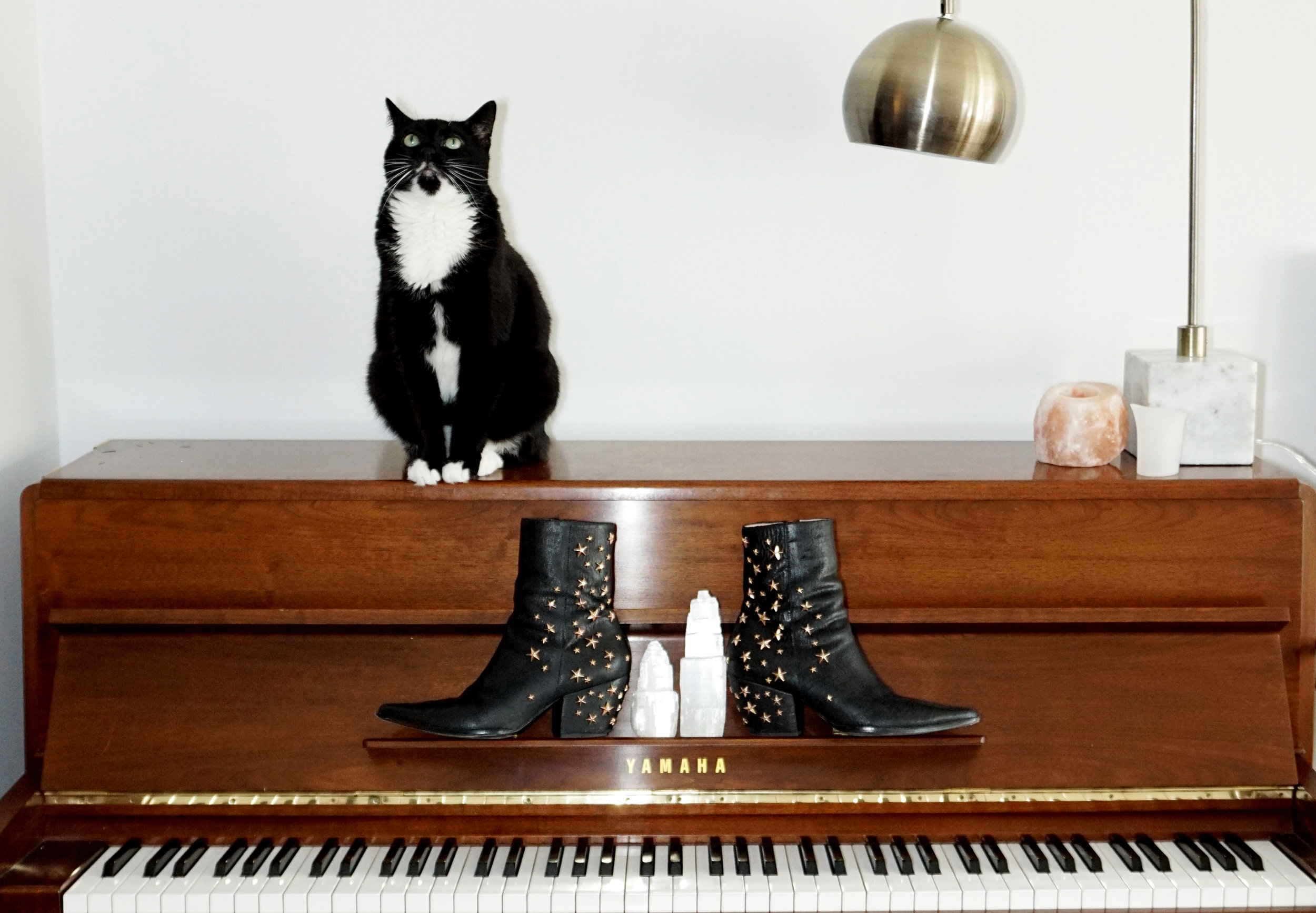 Even though I have an entire wall dedicated to shoes in the spare bedroom, I always have shoes scattered all around the house. Normally they're not kept on the piano but I couldn't resist for the sake of a good photo.