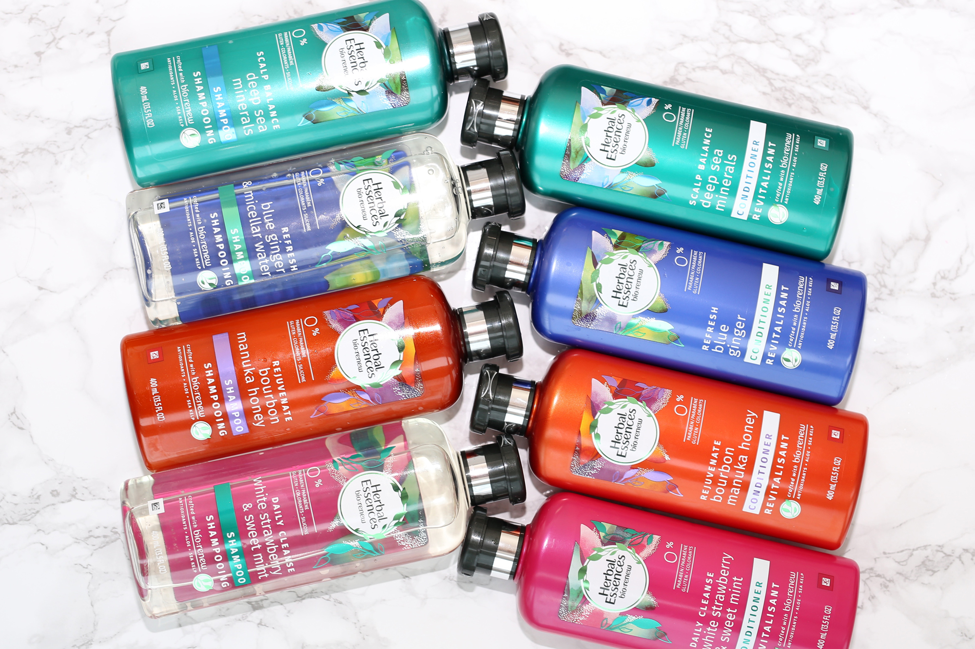 My favourite drug store shampoo, Herbal Essences bio:renew, welcomes four new shampoos and conditioners to the family: Deep Sea Minerals, Blue Ginger, Bourbon Manuka Honey, and White Strawberry & Sweet Mint! The entire range smells incredible and is safe for coloured hair.