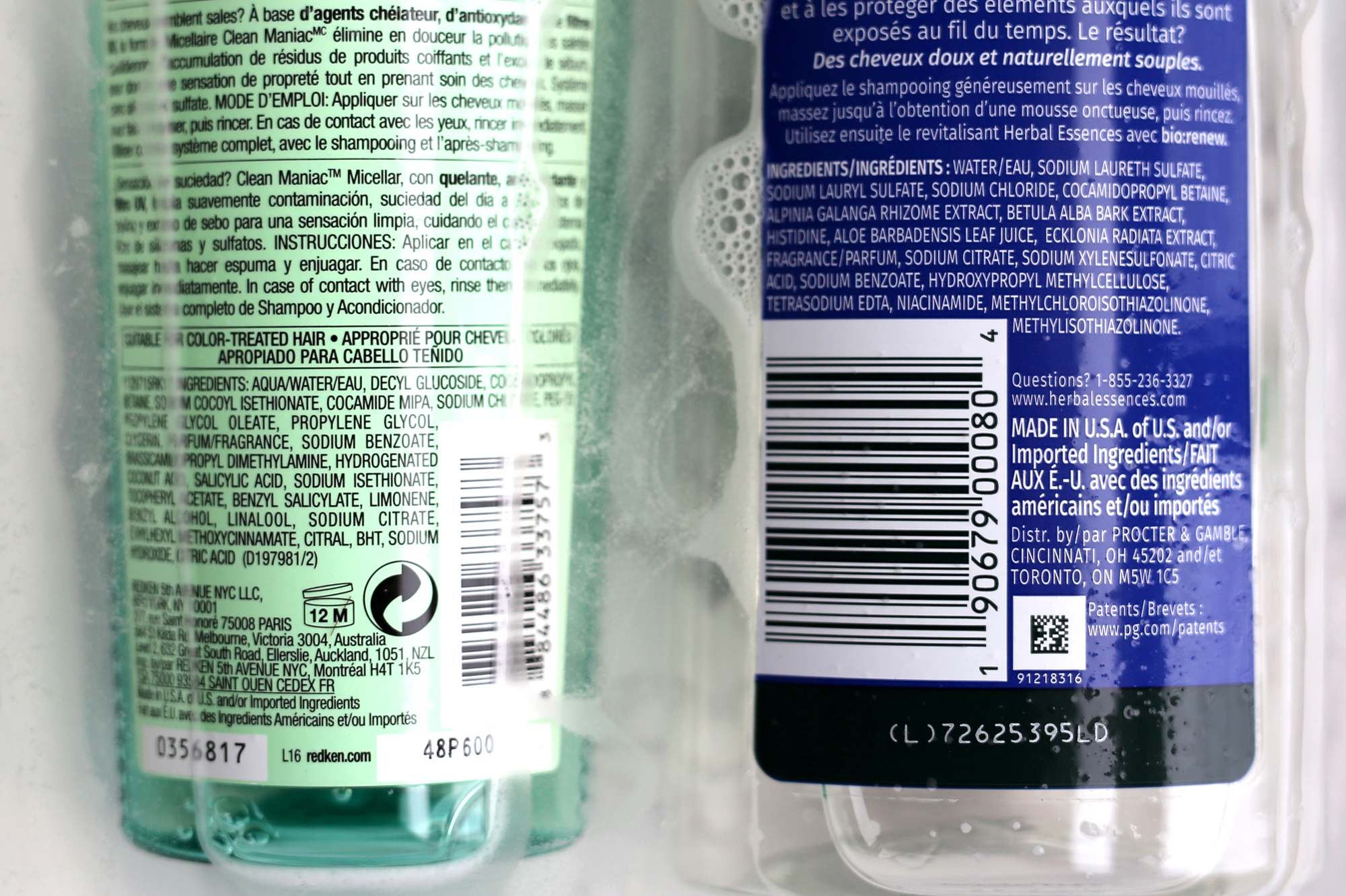 High end vs. drug store micellar shampoo. Redken's (left) is silicone and sulphate-free while Herbal Essences bio:renew (right) contains SLS, a foaming agent which some people avoid as it can be an  irritant  in a small percent of the population.