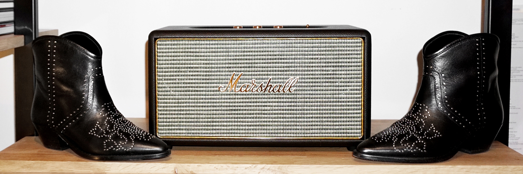 I'm crazy about this Marshall Stanmore speaker. I had seen something like this at the Ludlow Hotel in New York and knew I wanted one in my home.