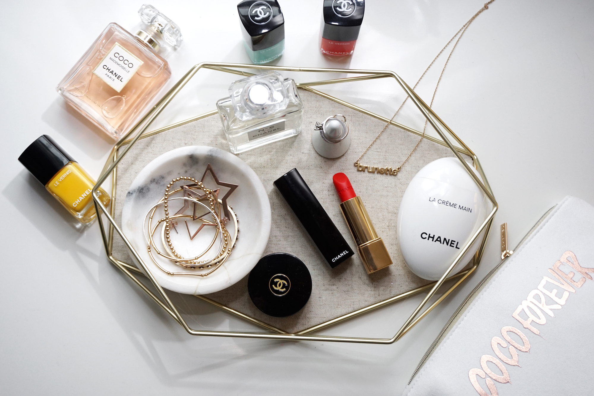 What's on my desk: an Umbra tray full of Chanel makeup.