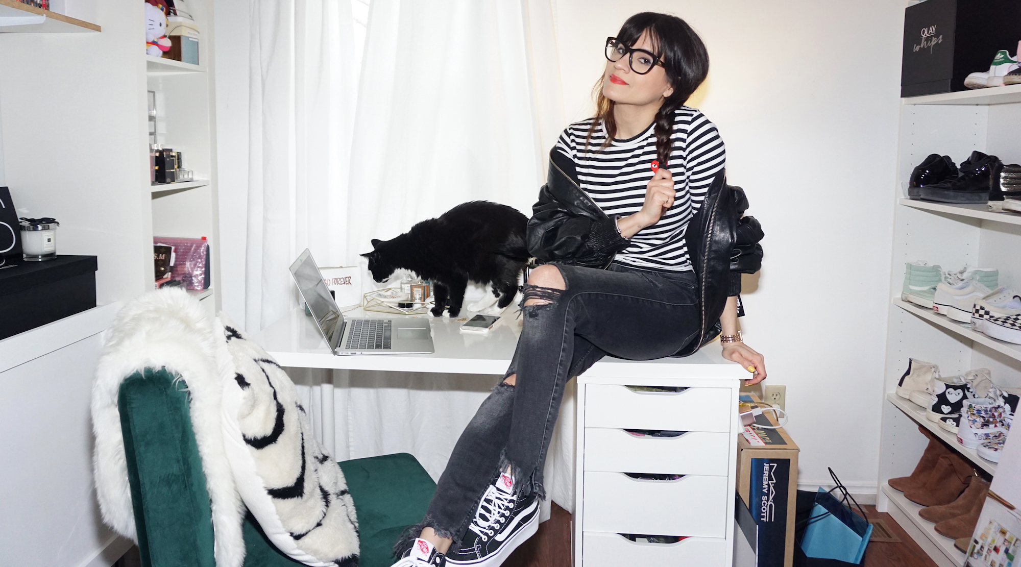 iro leather bomber jacket and black vans platform sneakers - at home office closet home decor woahstyle.com.jpg