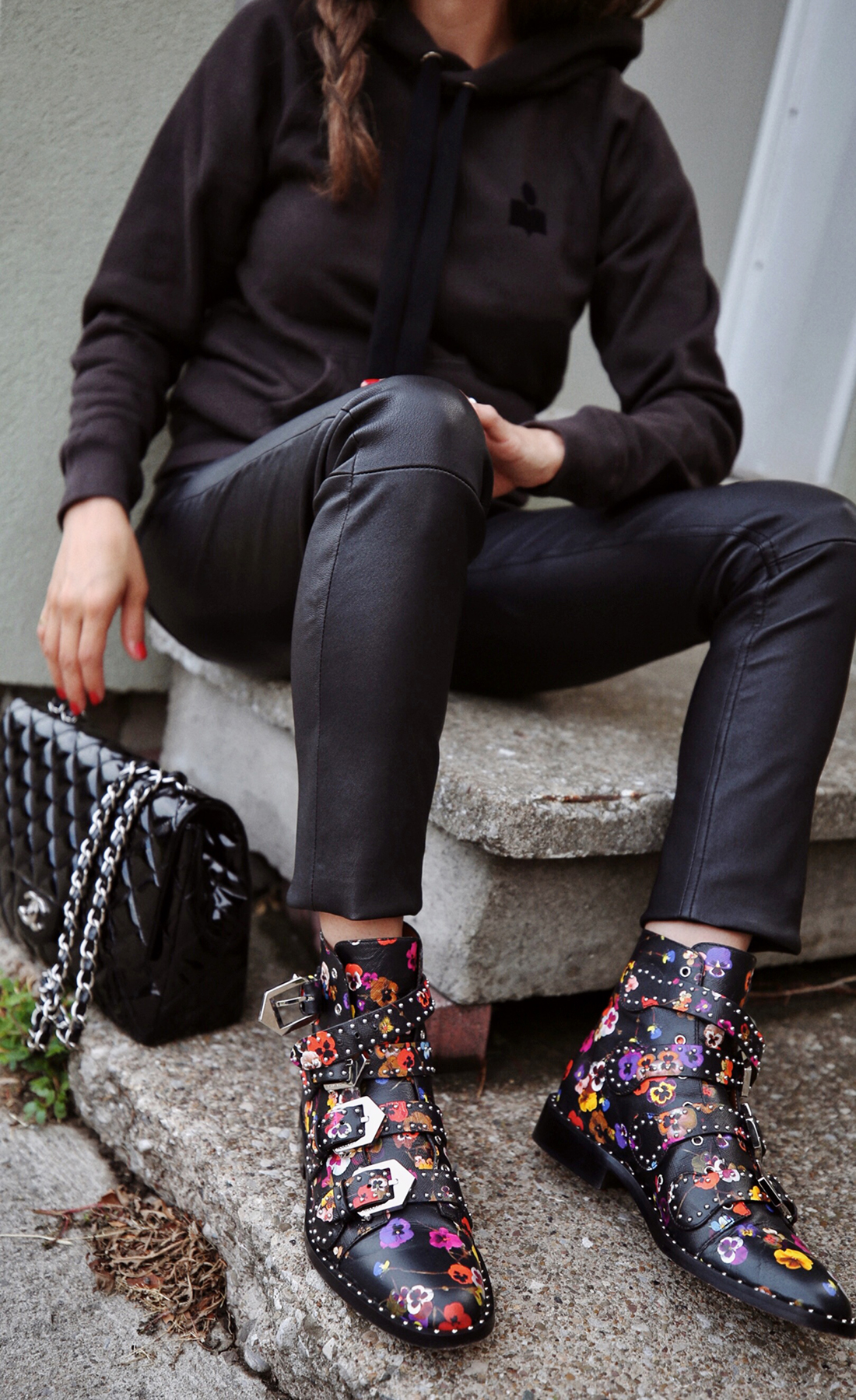 Isabel Marant Malibu Hoodie, Mackage leather jeans pants, Givenchy floral studded Elegant Line boots, Chanel patent leather flap bag - street style - woahstyle.com, nathalie martin 1.JPG