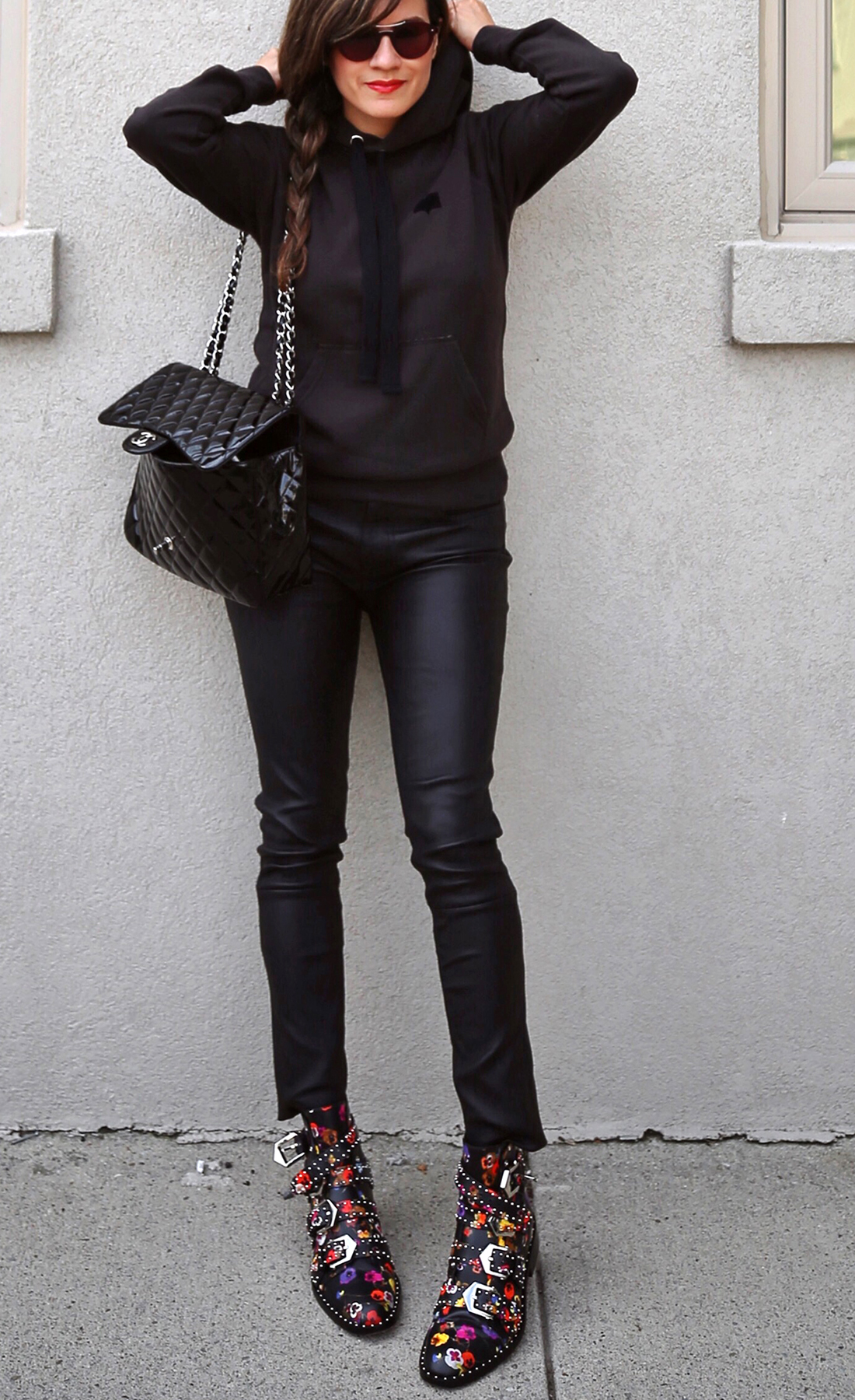 Isabel Marant Malibu Hoodie, Mackage leather jeans pants, Givenchy floral studded Elegant Line boots, Chanel patent leather flap bag - street style - woahstyle.com, nathalie martin 9.jpg