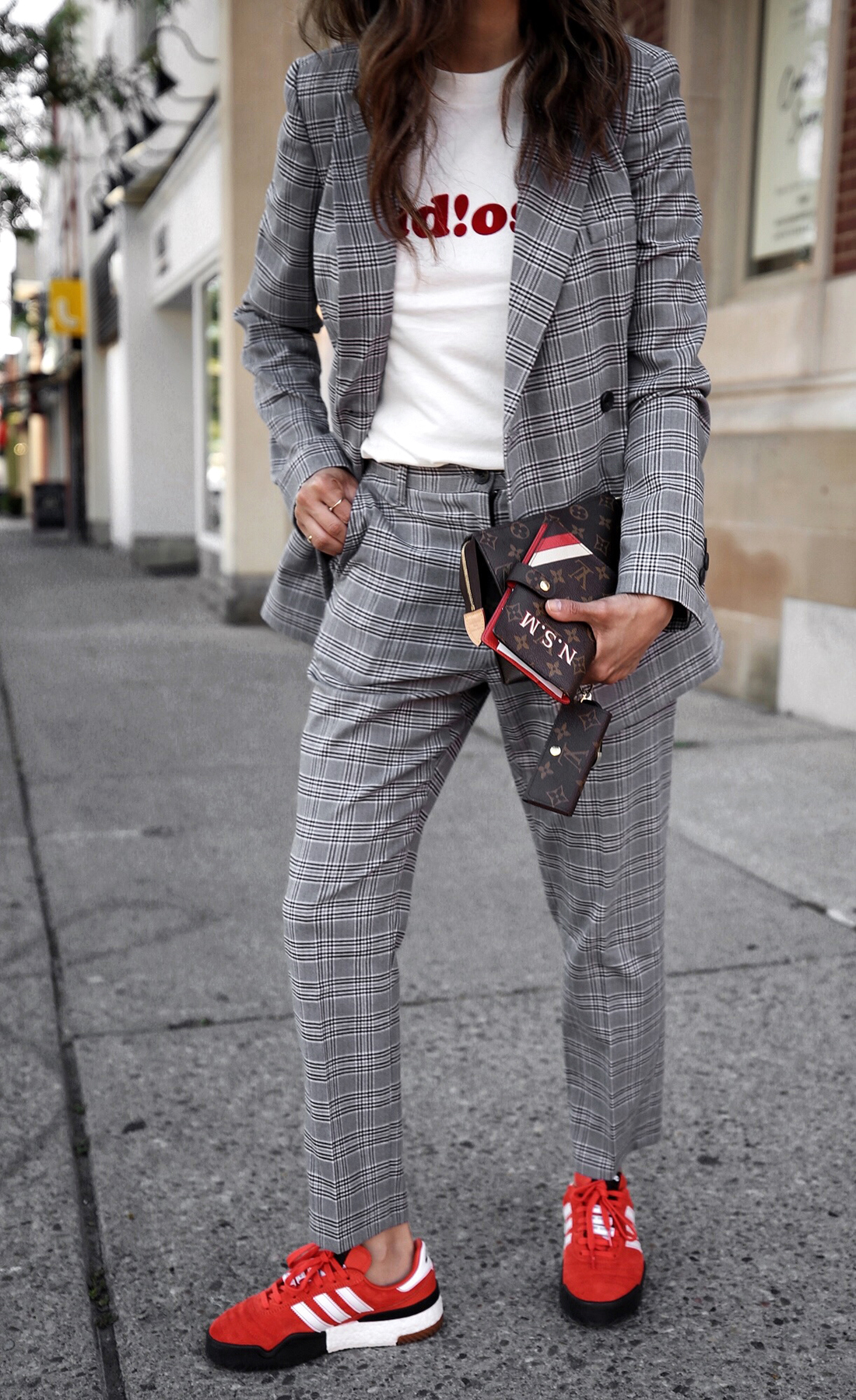 fw18 street style plaid suit women - menswear inspired - nordstrom - alexander wang Orange red AW BBall Soccer Sneakers, louis vuitton small agenda 3.JPG