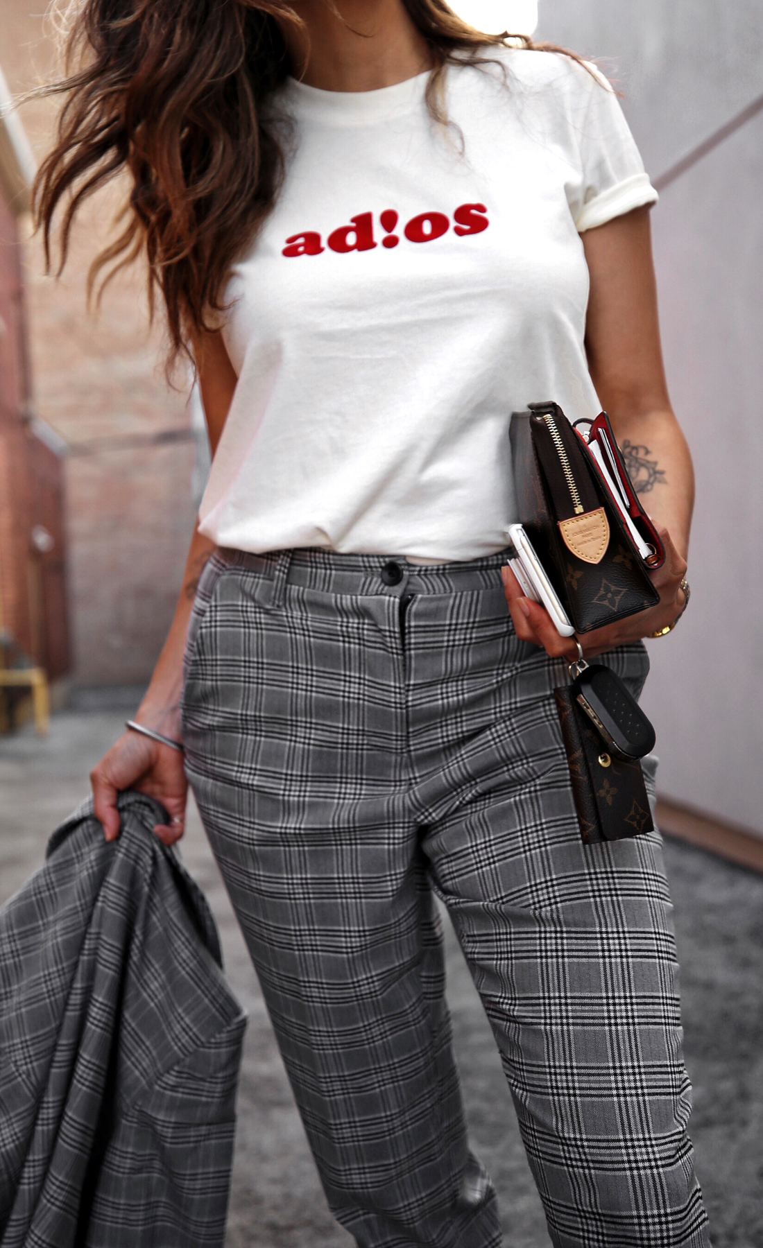 fw18 street style plaid suit women - menswear inspired - nordstrom - alexander wang Orange red AW BBall Soccer Sneakers, louis vuitton small agenda 4.JPG