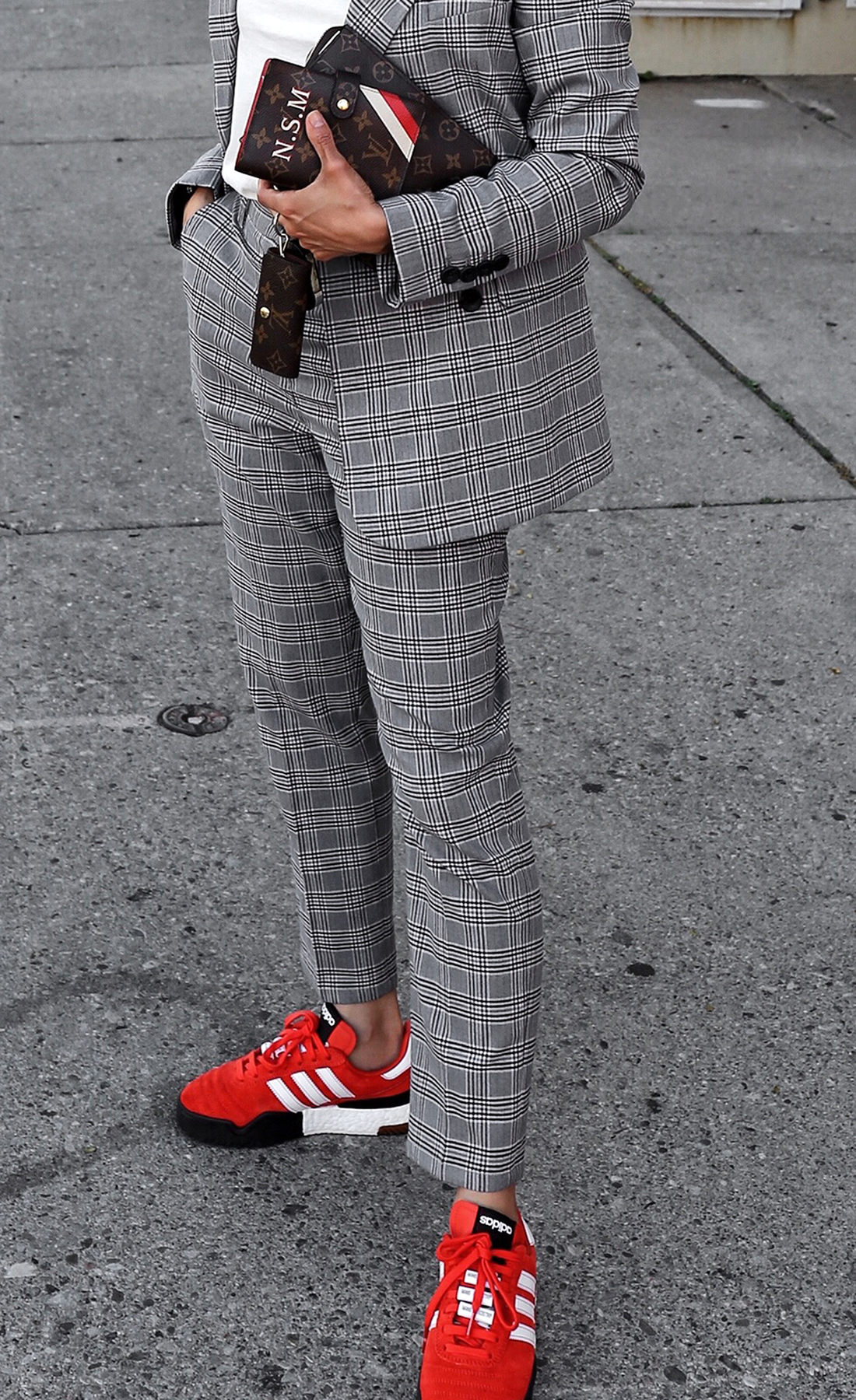 fw18 street style plaid suit women - menswear inspired - nordstrom - alexander wang Orange red AW BBall Soccer Sneakers, louis vuitton small agenda.JPG