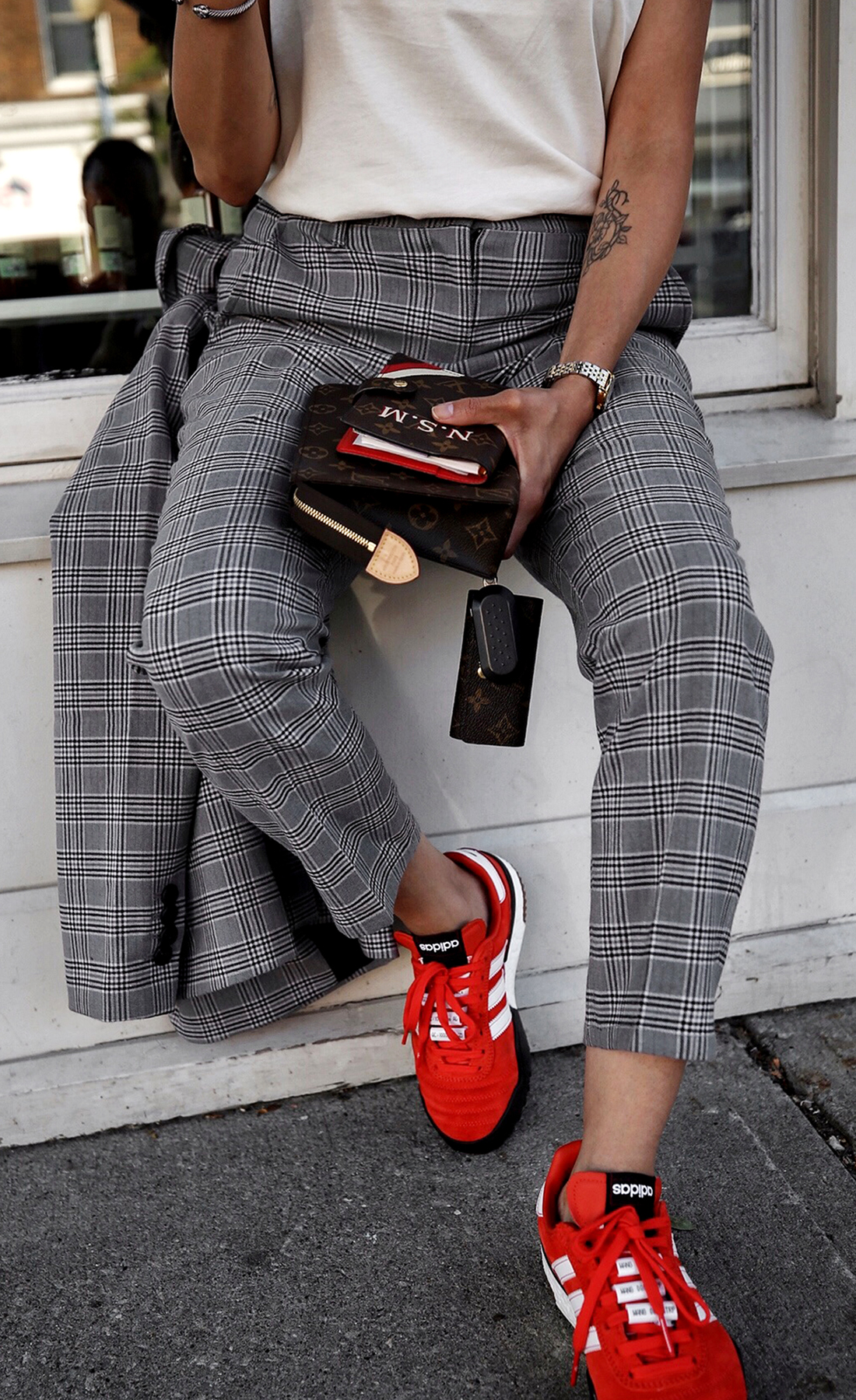 fw18 street style plaid suit women - menswear inspired - nordstrom - alexander wang Orange red AW BBall Soccer Sneakers, louis vuitton small agenda 1.JPG