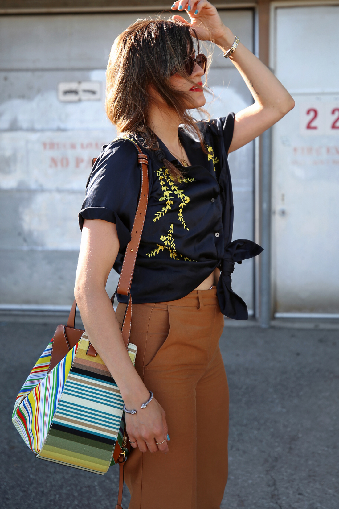 Cinq à Sept embroidered silk blouse, brown zara trouser pants, isabel marant sandals, loewe small striped hammock bag ss18, summer style, toronto fashion blogger, woahstyle.com by nathalie martin 13.jpg