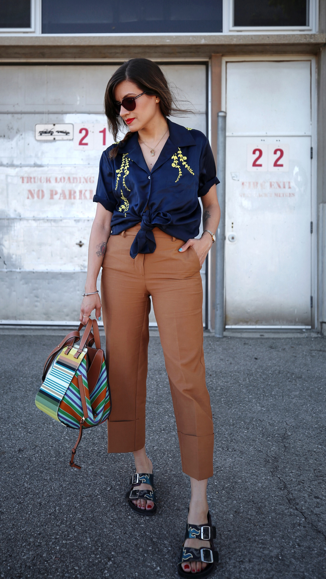 Cinq à Sept embroidered silk blouse, brown zara trouser pants, isabel marant sandals, loewe small striped hammock bag ss18, summer style, toronto fashion blogger, woahstyle.com by nathalie martin _7747.jpg