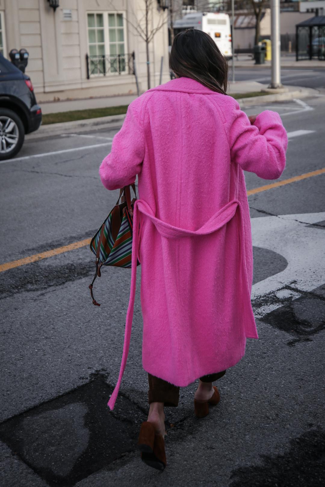 Nathalie Martin wearing Helmut Lang pink belt tie wool coat, brown corduroy pants, Zara brown textured sweater, Prada brown suede mules, Loewe striped Hammock bag, Bonlook Class sunglasses, street style, woahstyle.com_5093.jpg