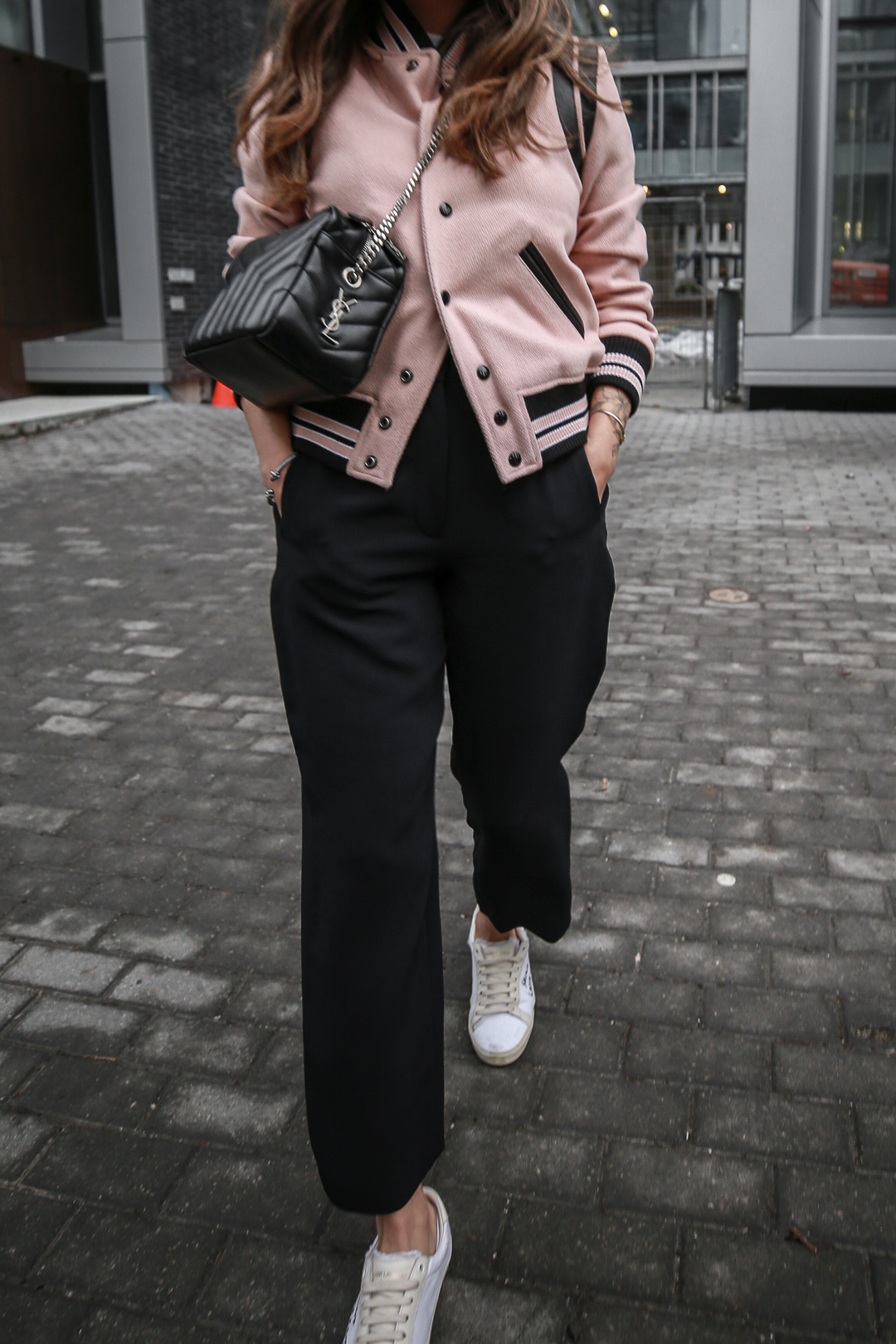 Nathalie Martin wearing Saint Laurent pink Teddy Jacket, YSL Lou Lou small bowling bag, white canvas sneakers, Aritzia Jallade Pant, street style, woahstyle.com_4092-2.jpg