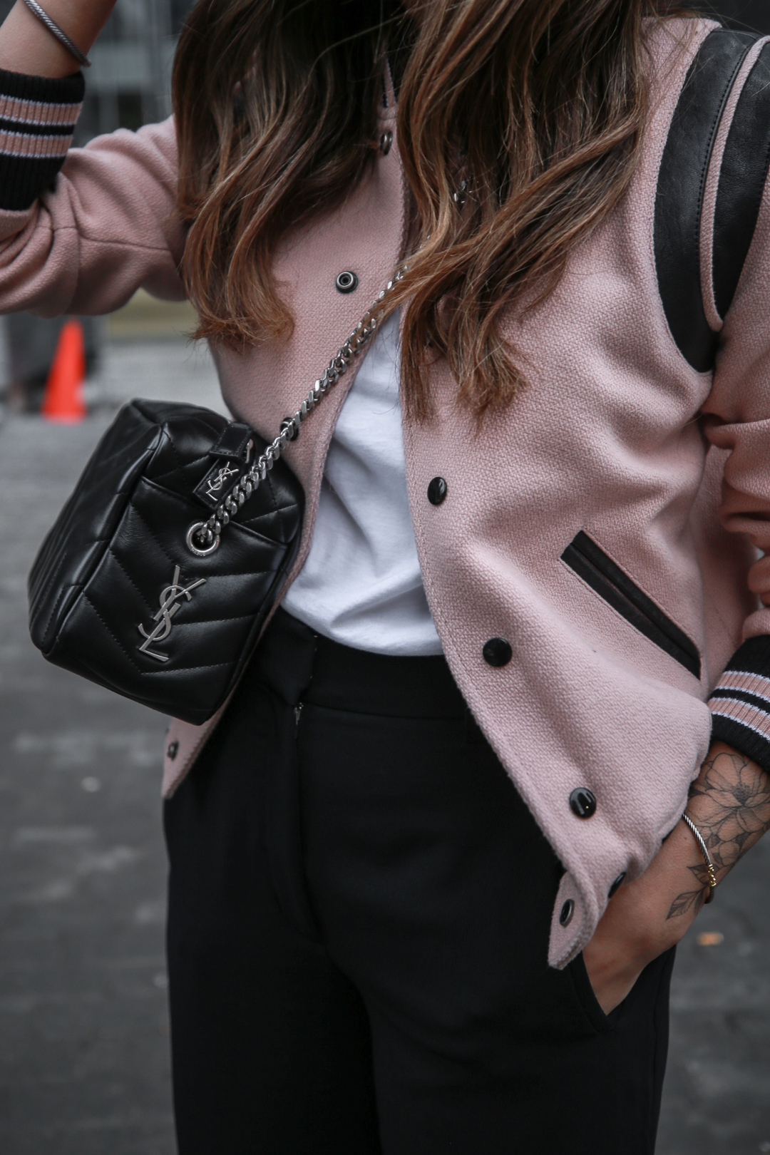Nathalie Martin wearing Saint Laurent pink Teddy Jacket, YSL Lou Lou small bowling bag, white canvas sneakers, Aritzia Jallade Pant, street style, woahstyle.com_4076-2.jpg