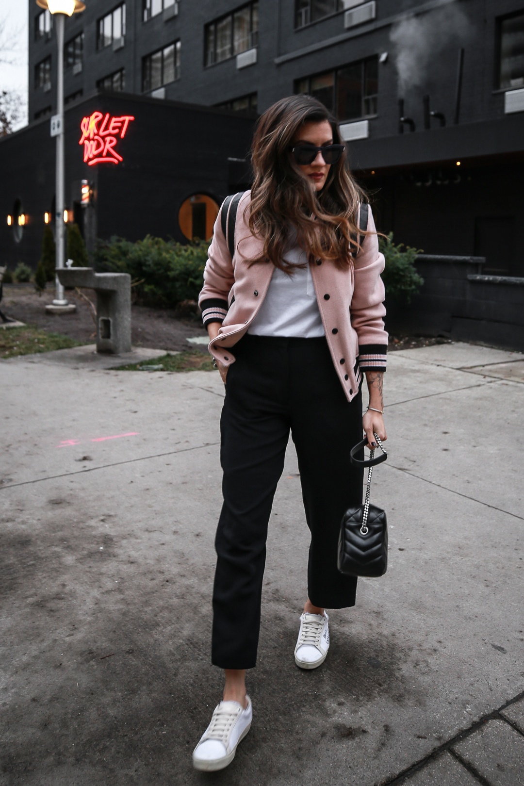 Nathalie Martin wearing Saint Laurent pink Teddy Jacket, YSL Lou Lou small bowling bag, white canvas sneakers, Aritzia Jallade Pant, street style, woahstyle.com_4006-2.jpg