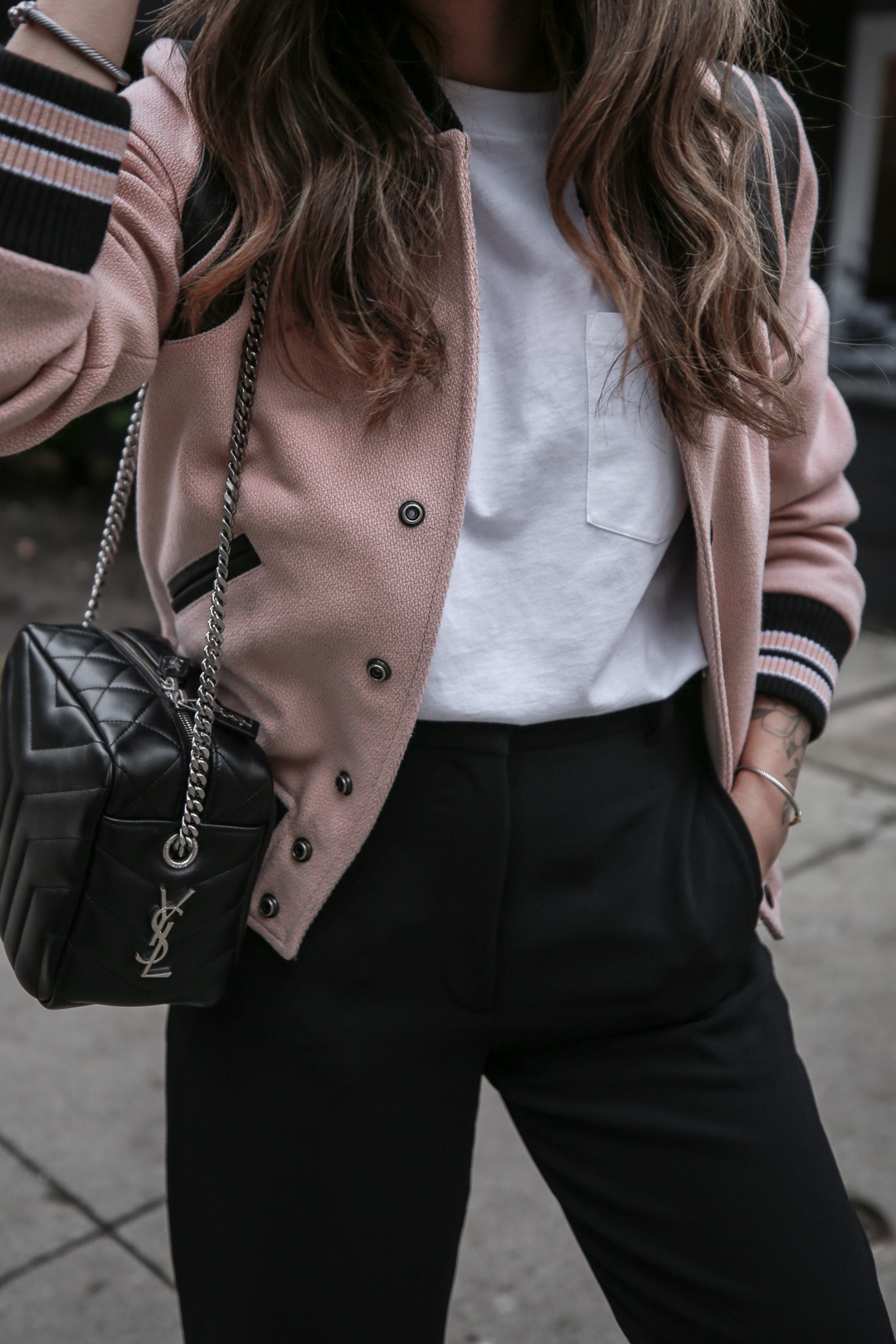 Nathalie Martin wearing Saint Laurent pink Teddy Jacket, YSL Lou Lou small bowling bag, white canvas sneakers, Aritzia Jallade Pant, street style, woahstyle.com_4008.jpg