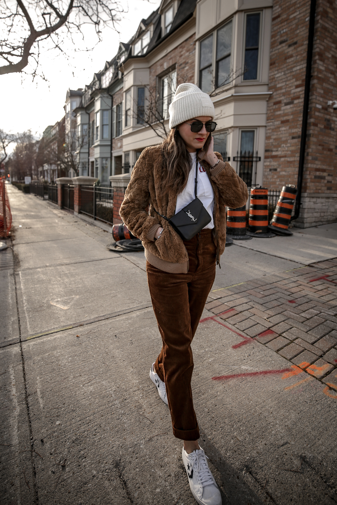 Nathalie Martin wearing brown teddy bear bomber jacket, corduroy pants, Sandro LOVE t-shirt, white sneakers, Saint Laurent Paris black bag, ivory Acne Studios Pansy face beanie, street style, Luka Sabbat inspired, woahstyle.com_5009.jpg