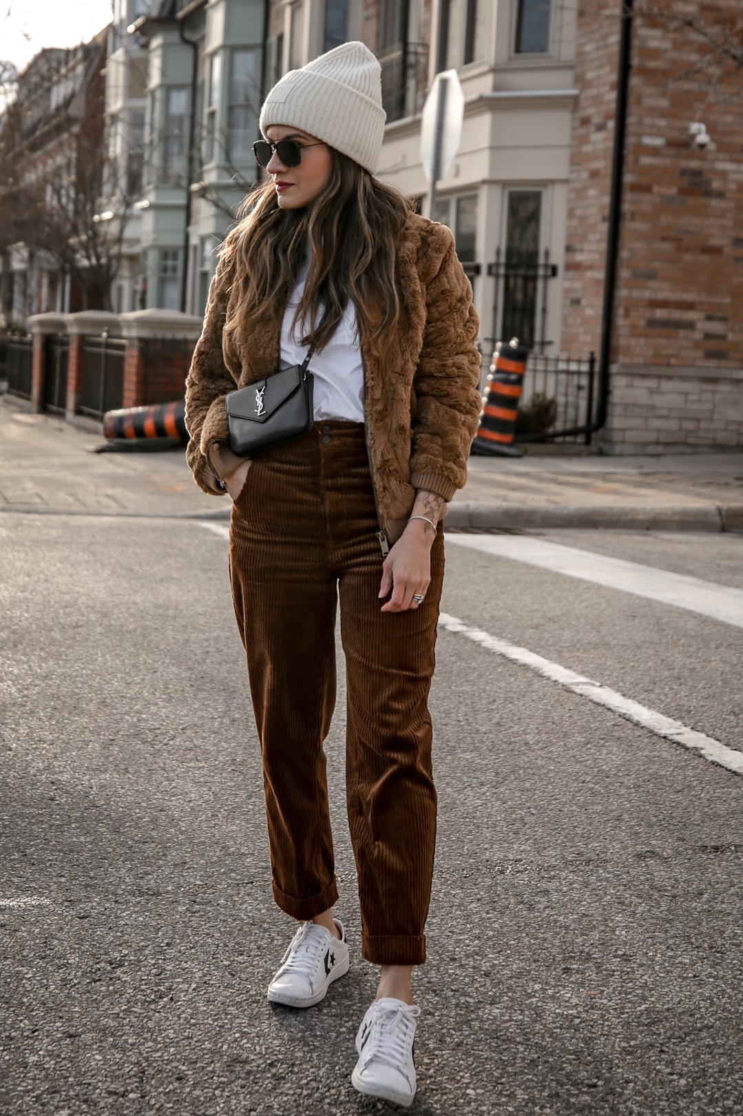 Nathalie Martin wearing brown teddy bear bomber jacket, corduroy pants, Sandro LOVE t-shirt, white sneakers, Saint Laurent Paris black bag, ivory Acne Studios Pansy face beanie, street style, Luka Sabbat inspired, woahstyle.com_5051.jpg
