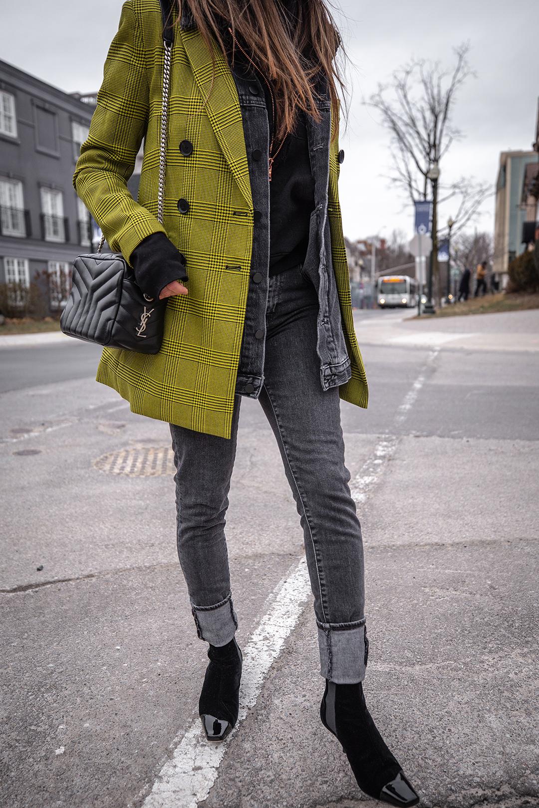 Nathalie Martin, Robert Rodriguez yellow plaid houndstooth blazer, Balenciaga logo beanie hat, Loewe velvet patent leather boots, grey jeans, Alexander Wang denim vest, Frank & Eileen hoodie, Saint Laurent LouLou bag, streetstyle woahstyle.com_6075.jpg