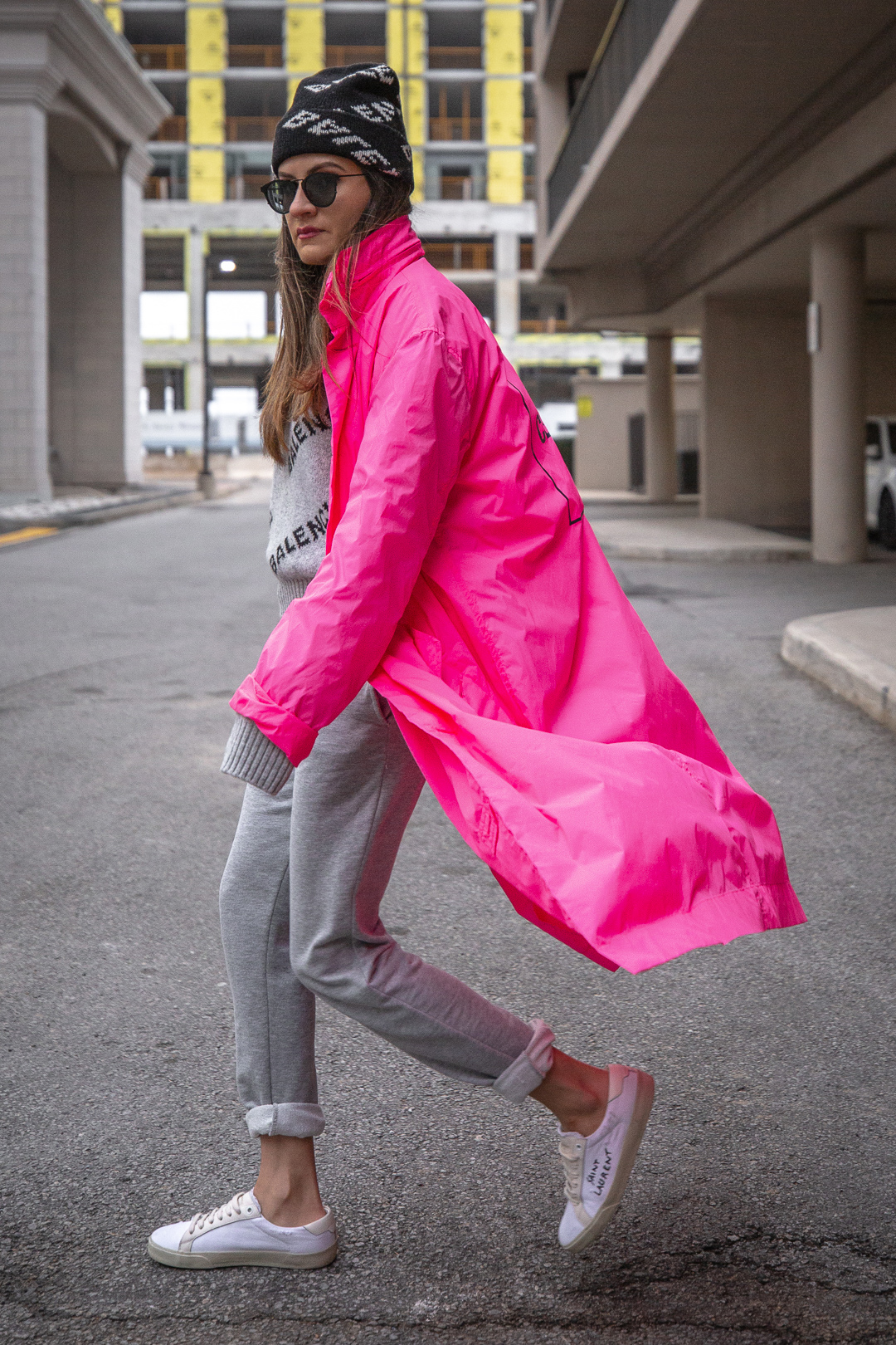 Nathalie Martin - Opening Ceremony pink nylon trench, Saint Laurent white canvas sneakers, Balenciaga logo beanie and cropped logo sweater, grey joggers, casual street style, woahstyle.com_5505.jpg