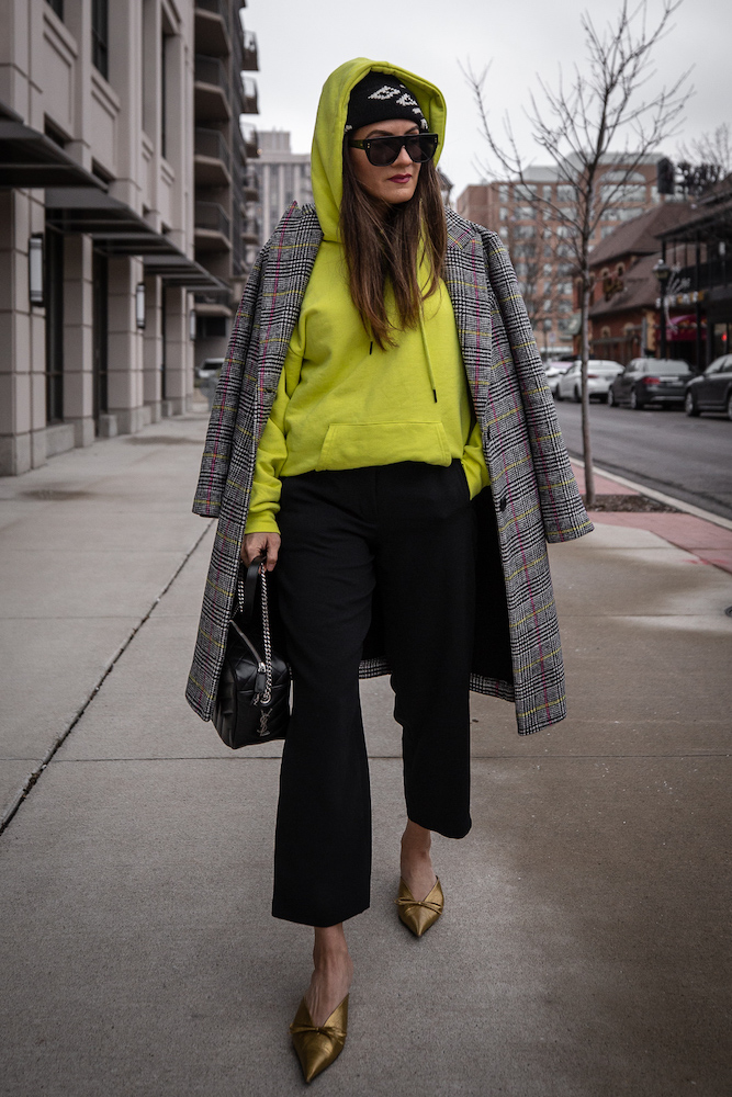 nathalie martin-neon yellow hoodie-plaid coat-saint laurent loulou bowling bag-bronze balenciaga knife mules and black logo beanie-street style-woahstyle.com.jpg