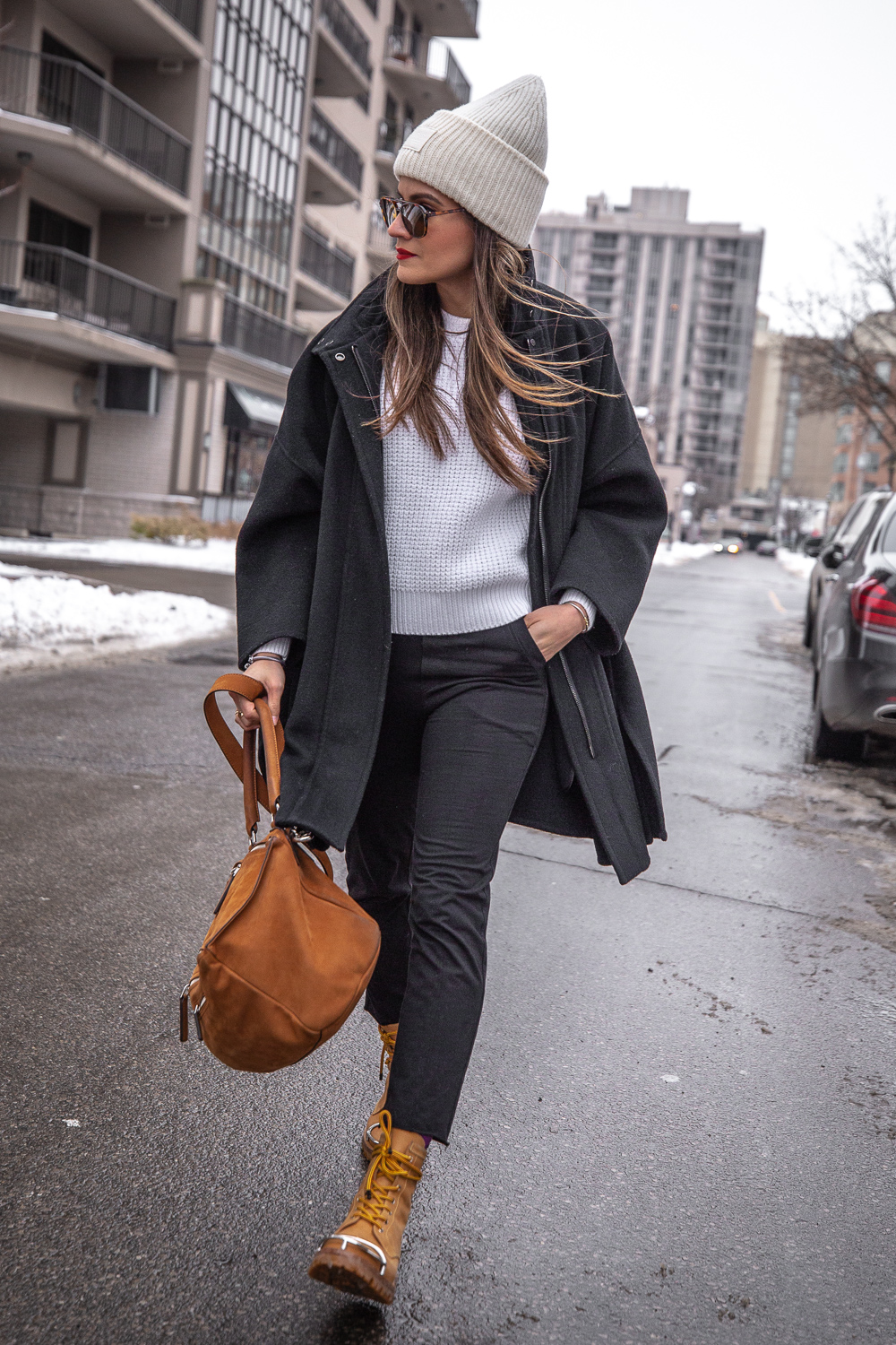 nathalie martin - vince wool coat, acne studios white sweater, pansy beanie, frank and eileen trouser joggers, alexander wang lyndon boots, givenchy medium pandora, bonlook jerry glasses, pinterest @woahstyle_7217.jpg